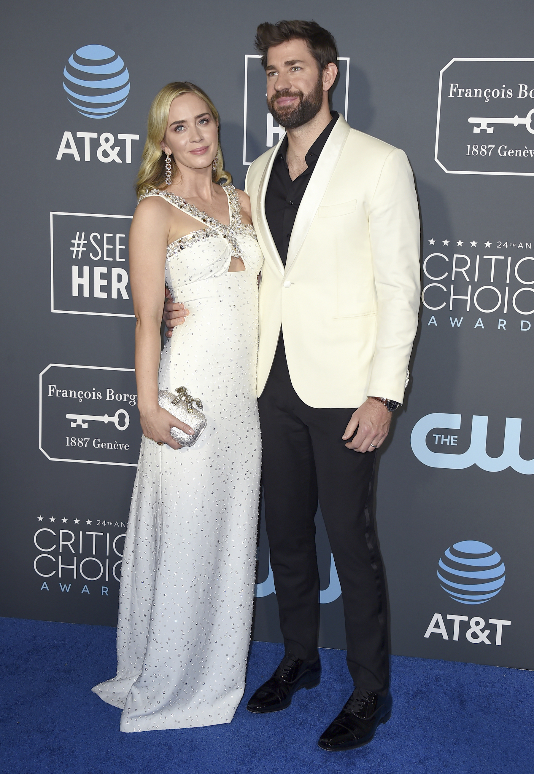 <div class='meta'><div class='origin-logo' data-origin='AP'></div><span class='caption-text' data-credit='Jordan Strauss/Invision/AP'>Emily Blunt, left, and John Krasinski arrive at the 24th annual Critics' Choice Awards on Sunday, Jan. 13, 2019, at the Barker Hangar in Santa Monica, Calif.</span></div>