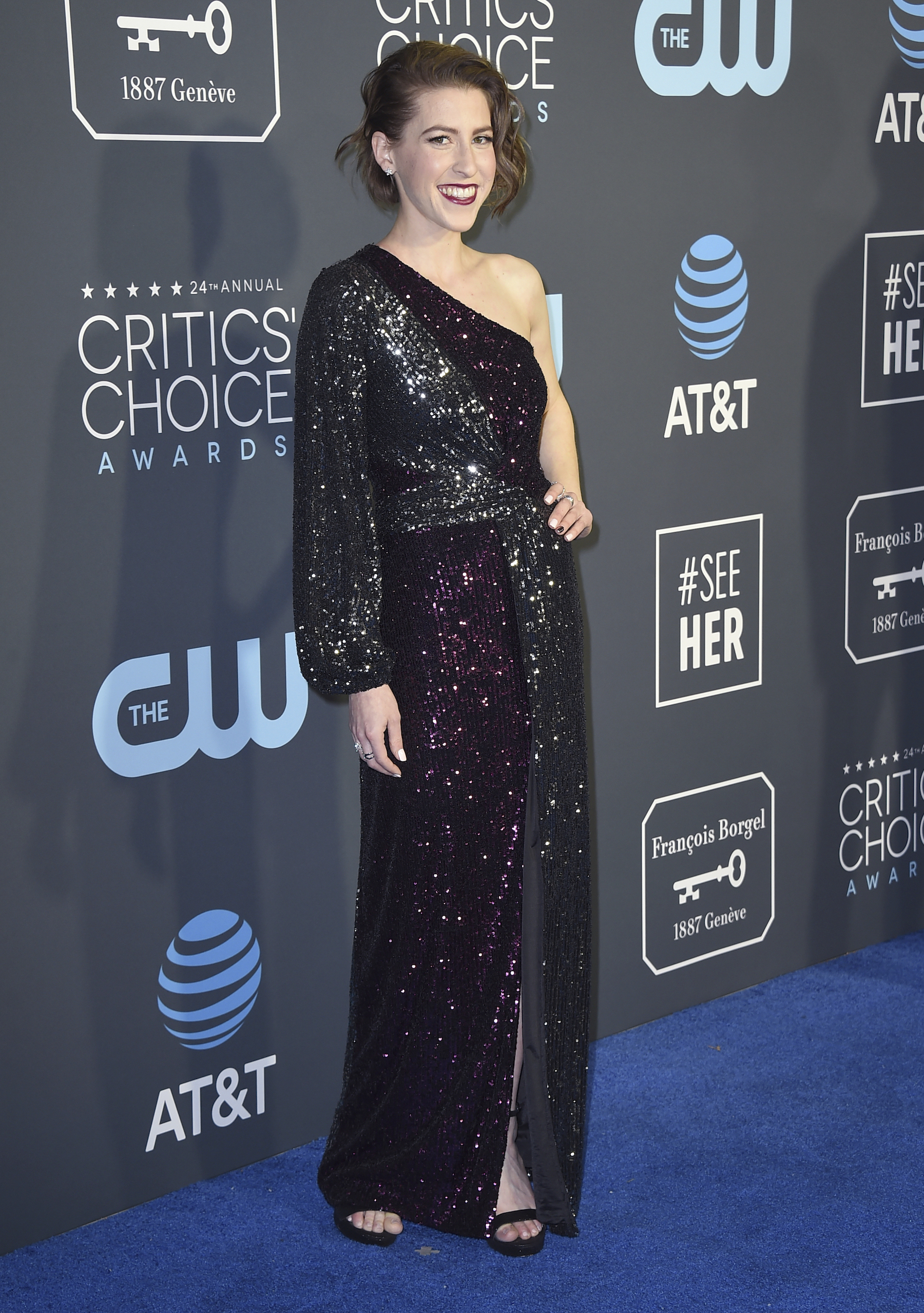 <div class='meta'><div class='origin-logo' data-origin='AP'></div><span class='caption-text' data-credit='Jordan Strauss/Invision/AP'>Eden Sher arrives at the 24th annual Critics' Choice Awards on Sunday, Jan. 13, 2019, at the Barker Hangar in Santa Monica, Calif.</span></div>