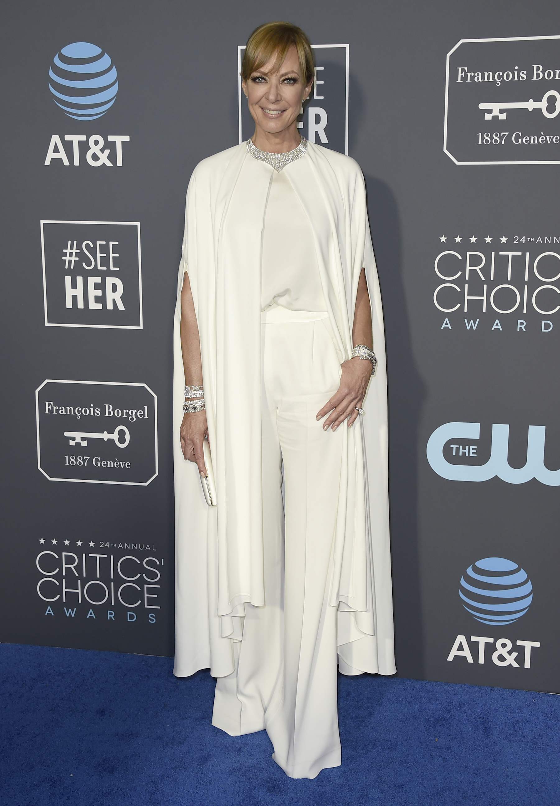 <div class='meta'><div class='origin-logo' data-origin='AP'></div><span class='caption-text' data-credit='Jordan Strauss/Invision/AP'>Allison Janney arrives at the 24th annual Critics' Choice Awards on Sunday, Jan. 13, 2019, at the Barker Hangar in Santa Monica, Calif.</span></div>