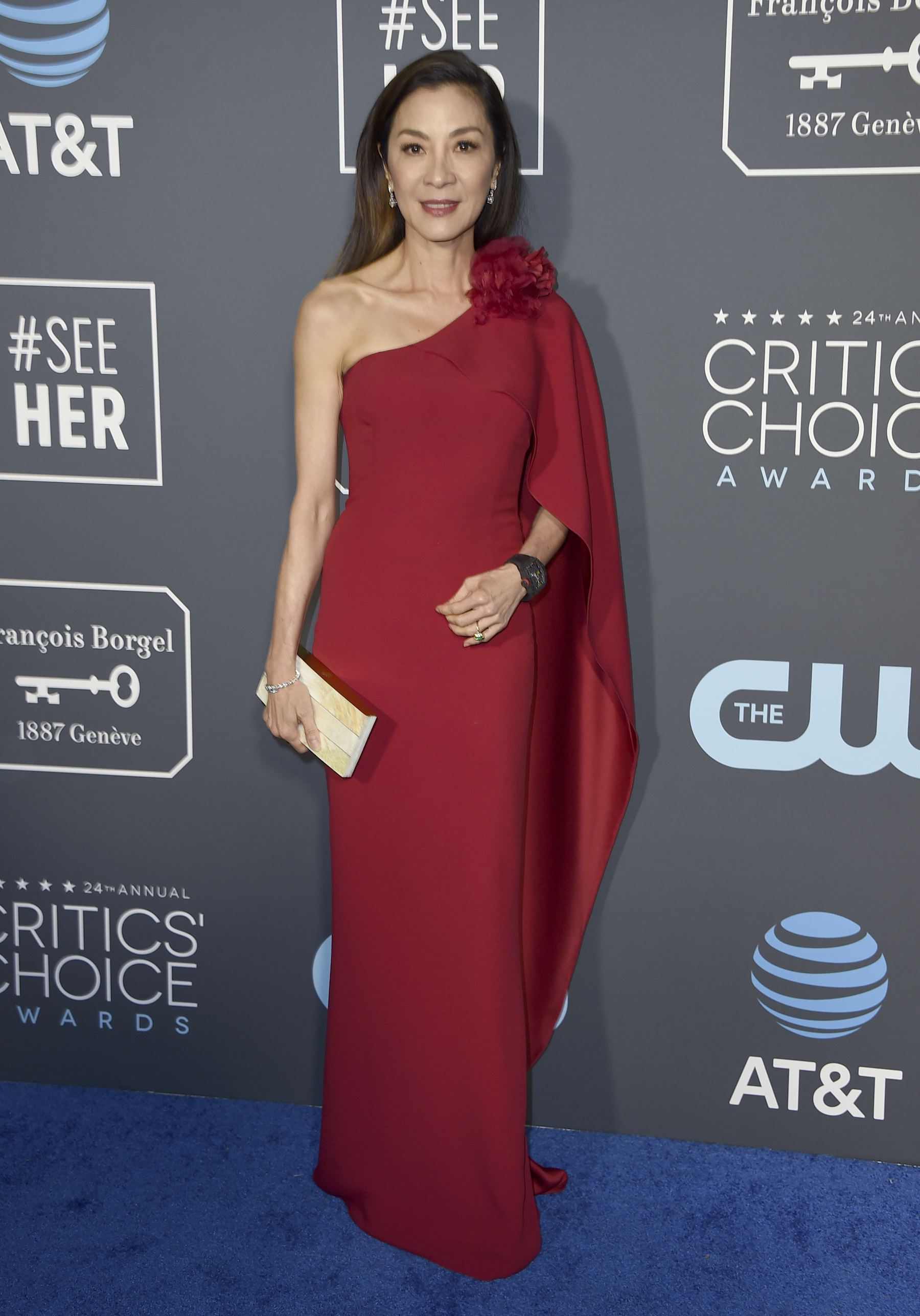 <div class='meta'><div class='origin-logo' data-origin='AP'></div><span class='caption-text' data-credit='Jordan Strauss/Invision/AP'>Michelle Yeoh arrives at the 24th annual Critics' Choice Awards on Sunday, Jan. 13, 2019, at the Barker Hangar in Santa Monica, Calif.</span></div>