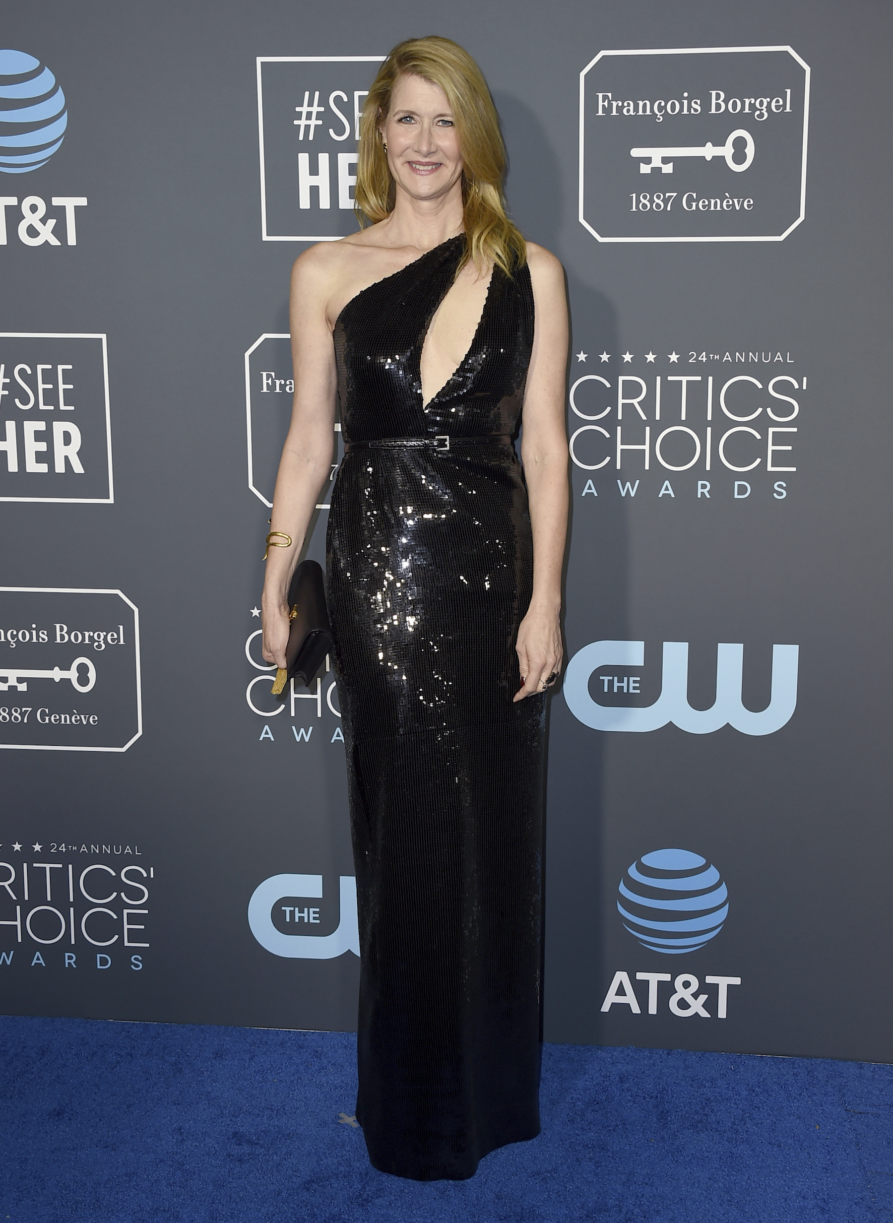 <div class='meta'><div class='origin-logo' data-origin='AP'></div><span class='caption-text' data-credit='Jordan Strauss/Invision/AP'>Laura Dern arrives at the 24th annual Critics' Choice Awards on Sunday, Jan. 13, 2019, at the Barker Hangar in Santa Monica, Calif.</span></div>