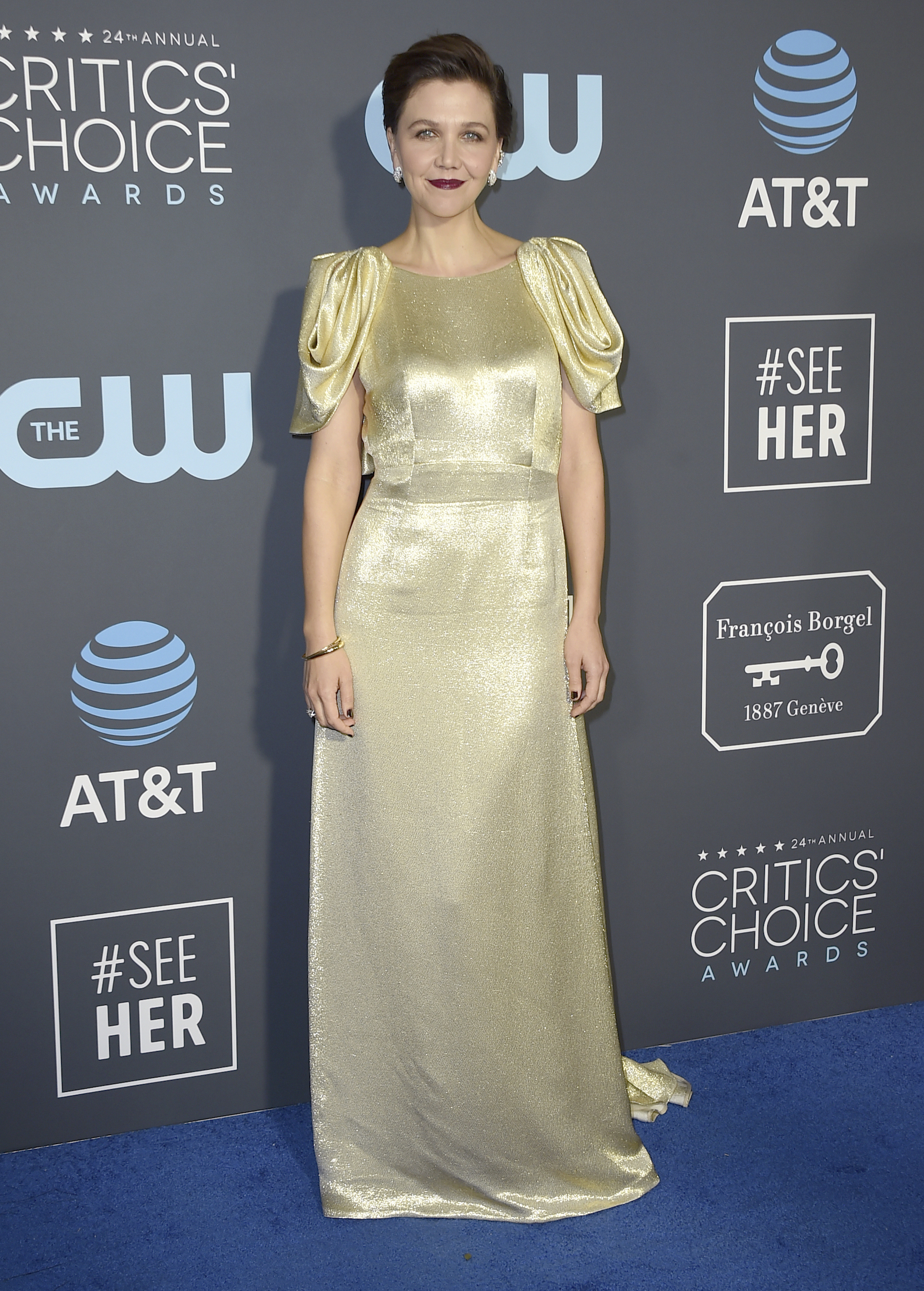 <div class='meta'><div class='origin-logo' data-origin='AP'></div><span class='caption-text' data-credit='Jordan Strauss/Invision/AP'>Maggie Gyllenhaal arrives at the 24th annual Critics' Choice Awards on Sunday, Jan. 13, 2019, at the Barker Hangar in Santa Monica, Calif.</span></div>