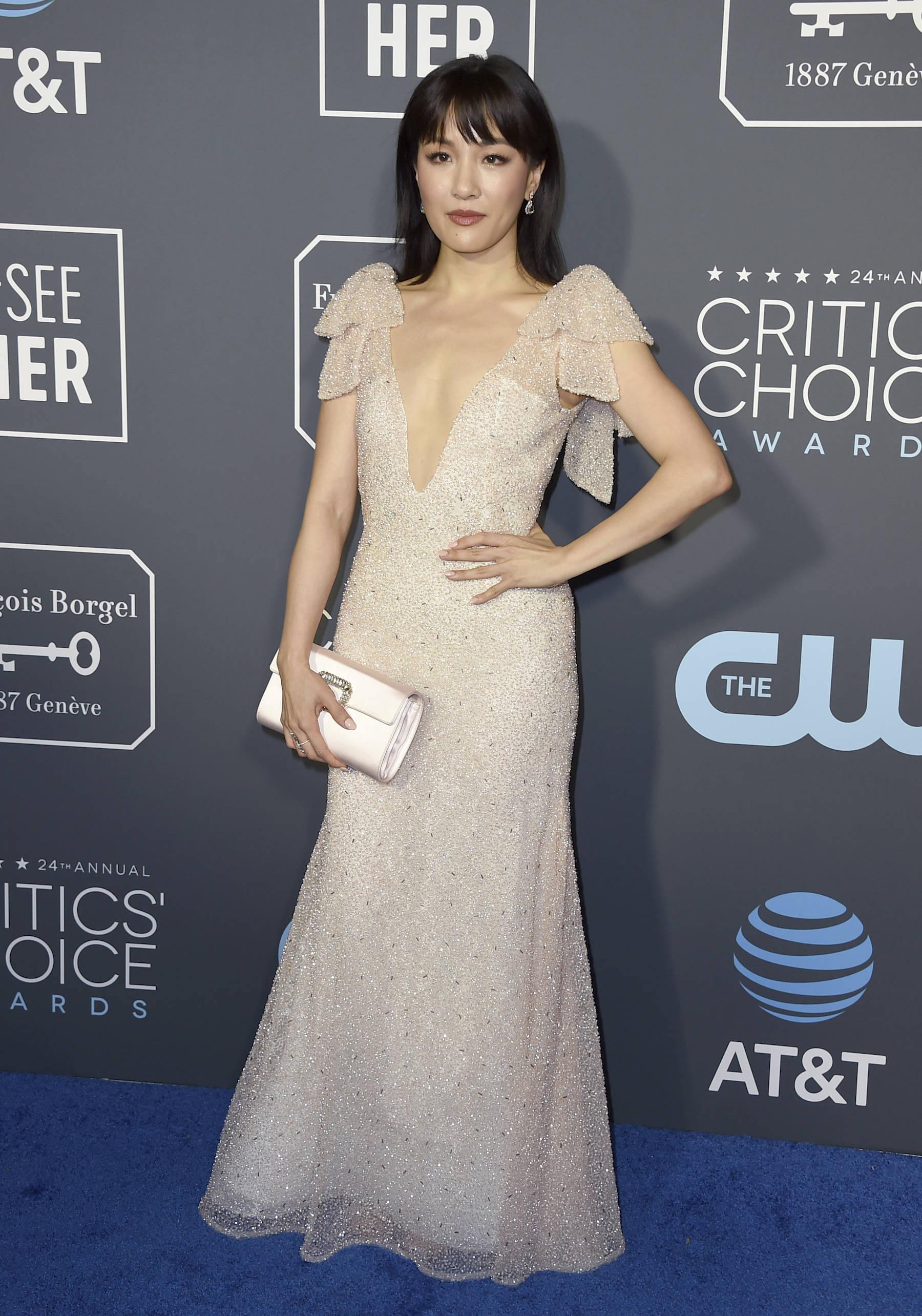 <div class='meta'><div class='origin-logo' data-origin='AP'></div><span class='caption-text' data-credit='Jordan Strauss/Invision/AP'>Constance Wu arrives at the 24th annual Critics' Choice Awards on Sunday, Jan. 13, 2019, at the Barker Hangar in Santa Monica, Calif.</span></div>