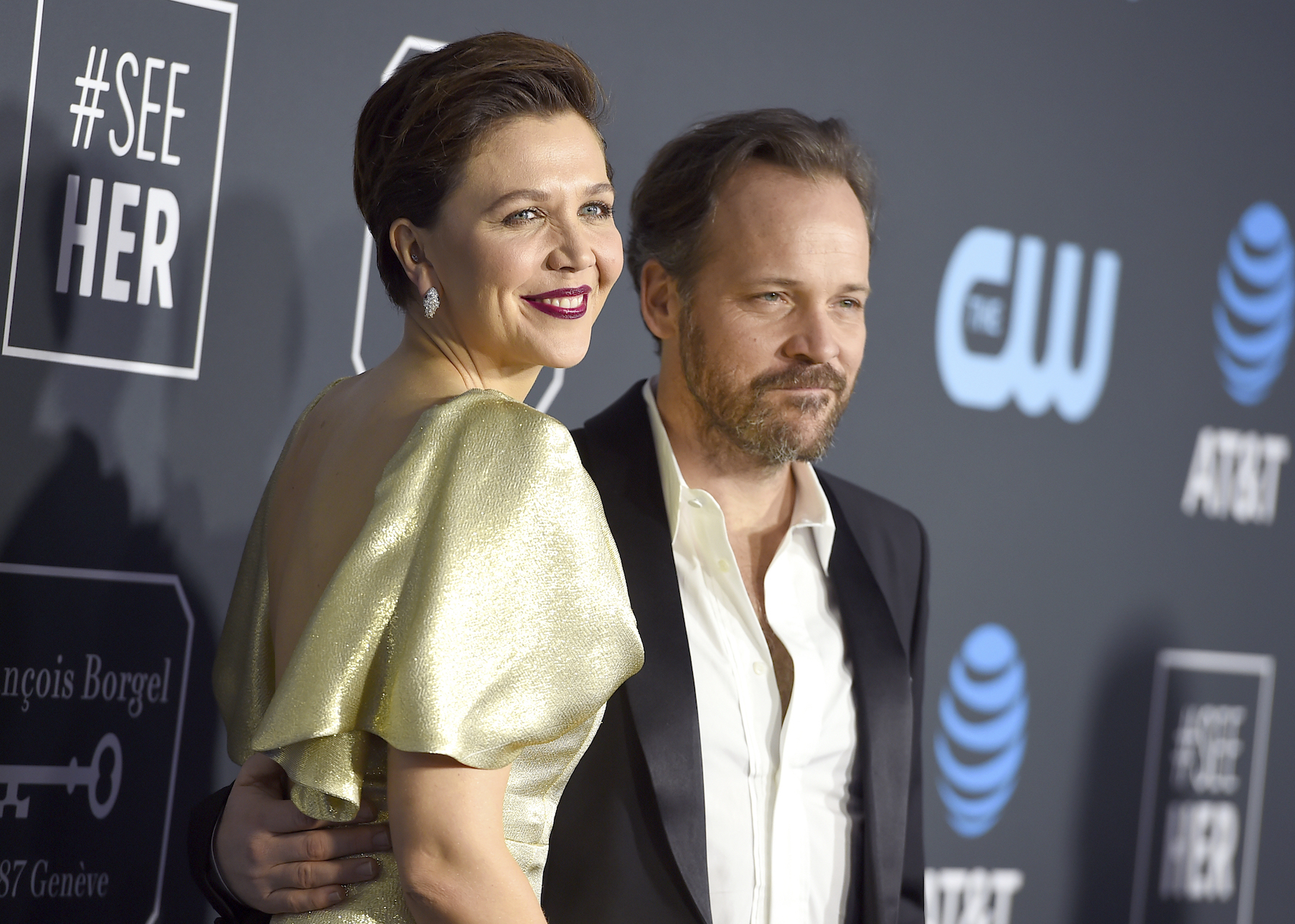 <div class='meta'><div class='origin-logo' data-origin='AP'></div><span class='caption-text' data-credit='Jordan Strauss/Invision/AP'>Peter Sarsgaard, right, and Maggie Gyllenhaal arrive at the 24th annual Critics' Choice Awards on Sunday, Jan. 13, 2019, at the Barker Hangar in Santa Monica, Calif.</span></div>