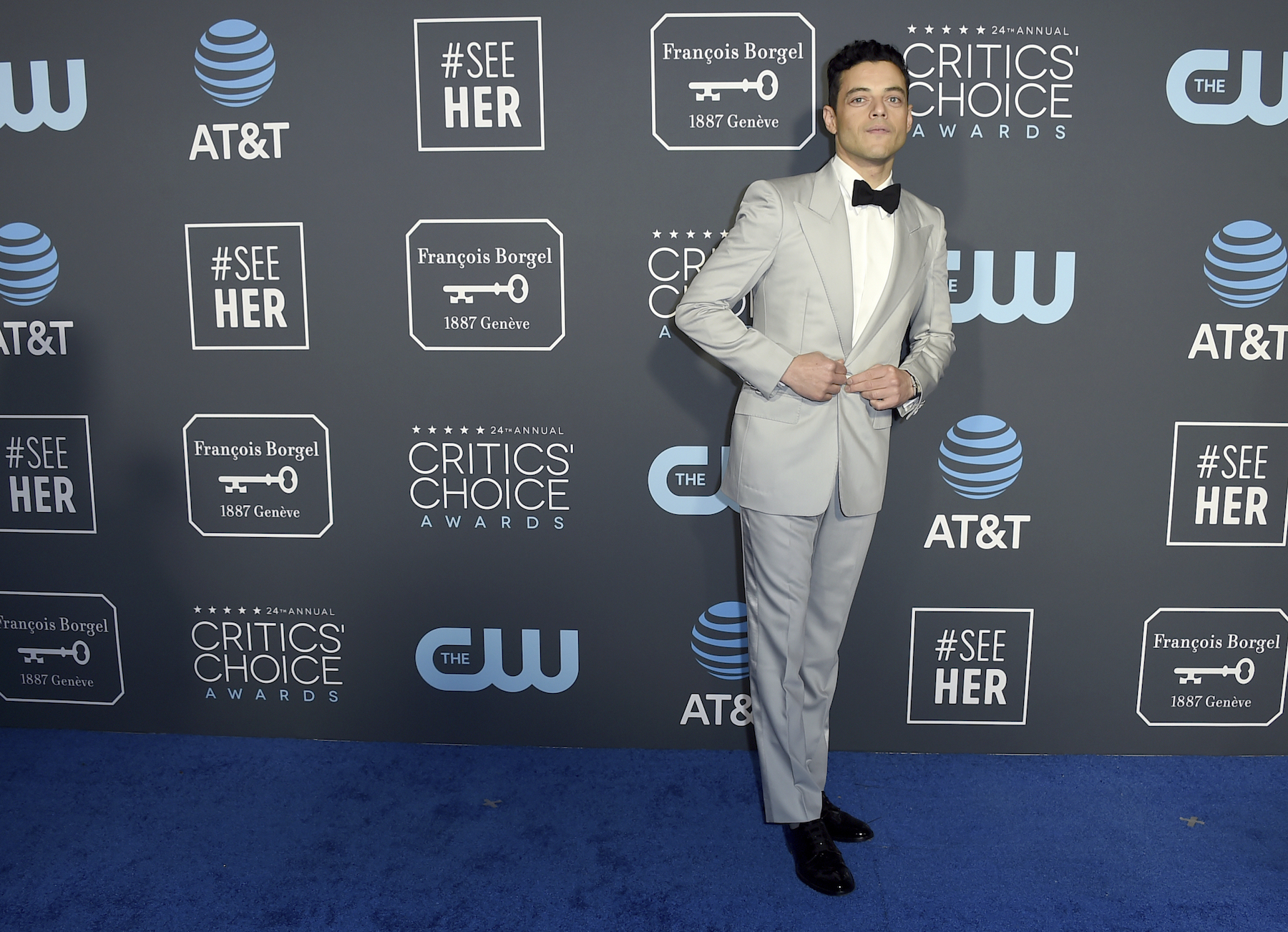 <div class='meta'><div class='origin-logo' data-origin='AP'></div><span class='caption-text' data-credit='Jordan Strauss/Invision/AP'>Rami Malek arrives at the 24th annual Critics' Choice Awards on Sunday, Jan. 13, 2019, at the Barker Hangar in Santa Monica, Calif.</span></div>