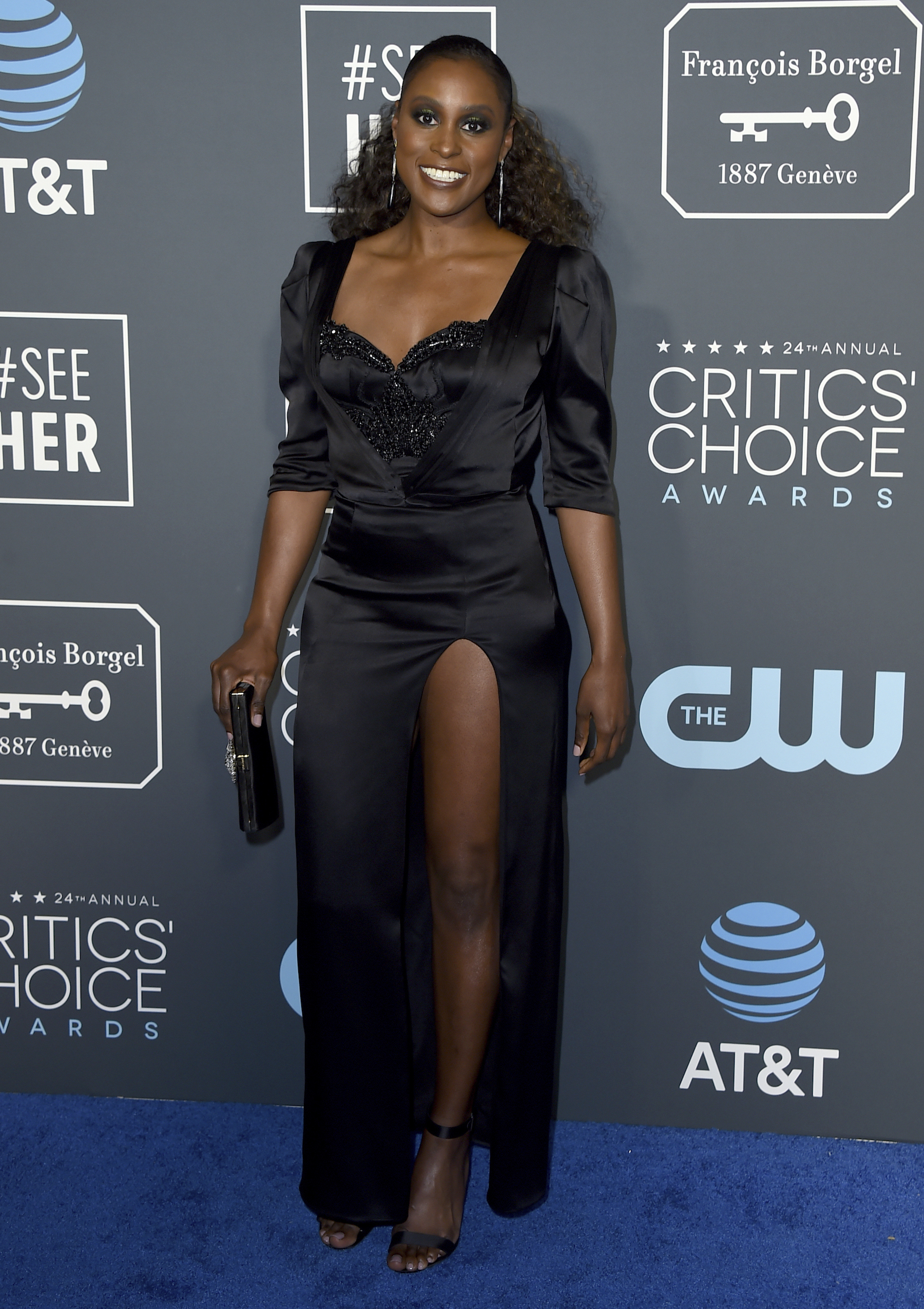 <div class='meta'><div class='origin-logo' data-origin='AP'></div><span class='caption-text' data-credit='Jordan Strauss/Invision/AP'>Issa Rae arrives at the 24th annual Critics' Choice Awards on Sunday, Jan. 13, 2019, at the Barker Hangar in Santa Monica, Calif.</span></div>