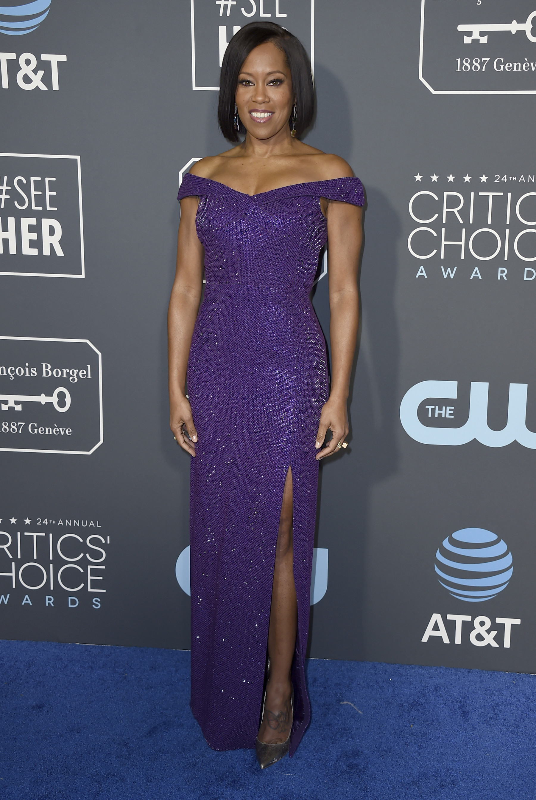 <div class='meta'><div class='origin-logo' data-origin='AP'></div><span class='caption-text' data-credit='Jordan Strauss/Invision/AP'>Regina King arrives at the 24th annual Critics' Choice Awards on Sunday, Jan. 13, 2019, at the Barker Hangar in Santa Monica, Calif.</span></div>