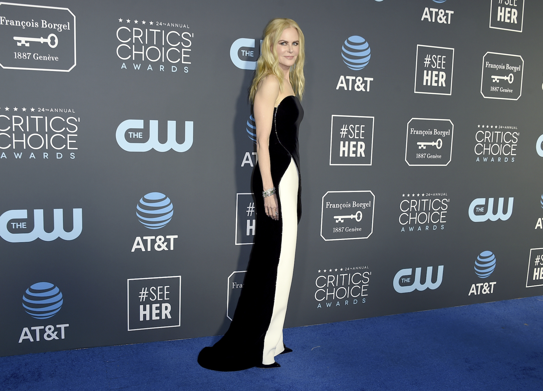 <div class='meta'><div class='origin-logo' data-origin='AP'></div><span class='caption-text' data-credit='Jordan Strauss/Invision/AP'>Nicole Kidman arrives at the 24th annual Critics' Choice Awards on Sunday, Jan. 13, 2019, at the Barker Hangar in Santa Monica, Calif.</span></div>