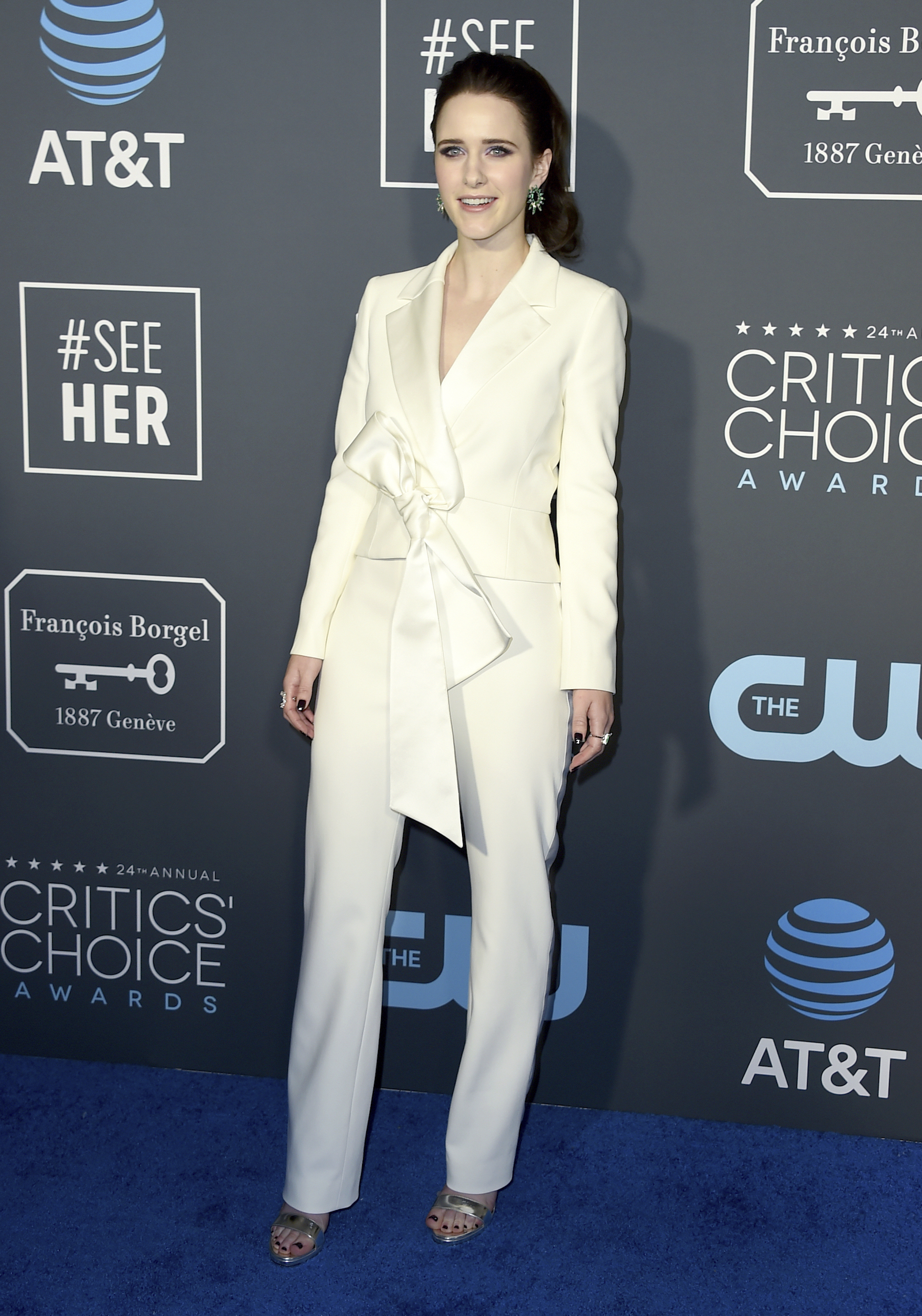 "<div class=""meta image-caption""><div class=""origin-logo origin-image ap""><span>AP</span></div><span class=""caption-text"">Rachel Brosnahan arrives at the 24th annual Critics' Choice Awards on Sunday, Jan. 13, 2019, at the Barker Hangar in Santa Monica, Calif. (Jordan Strauss/Invision/AP)</span></div>"
