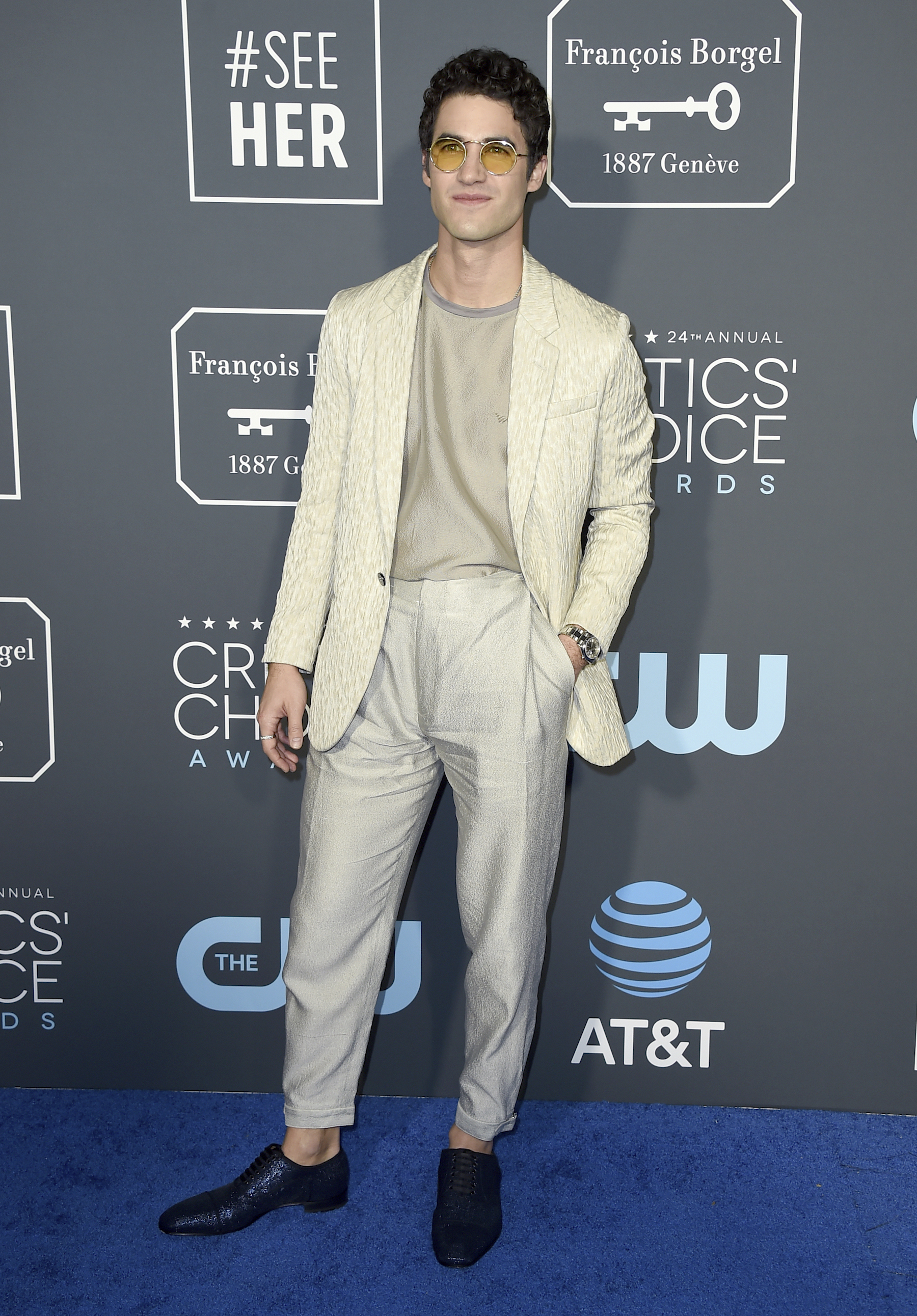 <div class='meta'><div class='origin-logo' data-origin='AP'></div><span class='caption-text' data-credit='Jordan Strauss/Invision/AP'>Darren Criss arrives at the 24th annual Critics' Choice Awards on Sunday, Jan. 13, 2019, at the Barker Hangar in Santa Monica, Calif.</span></div>