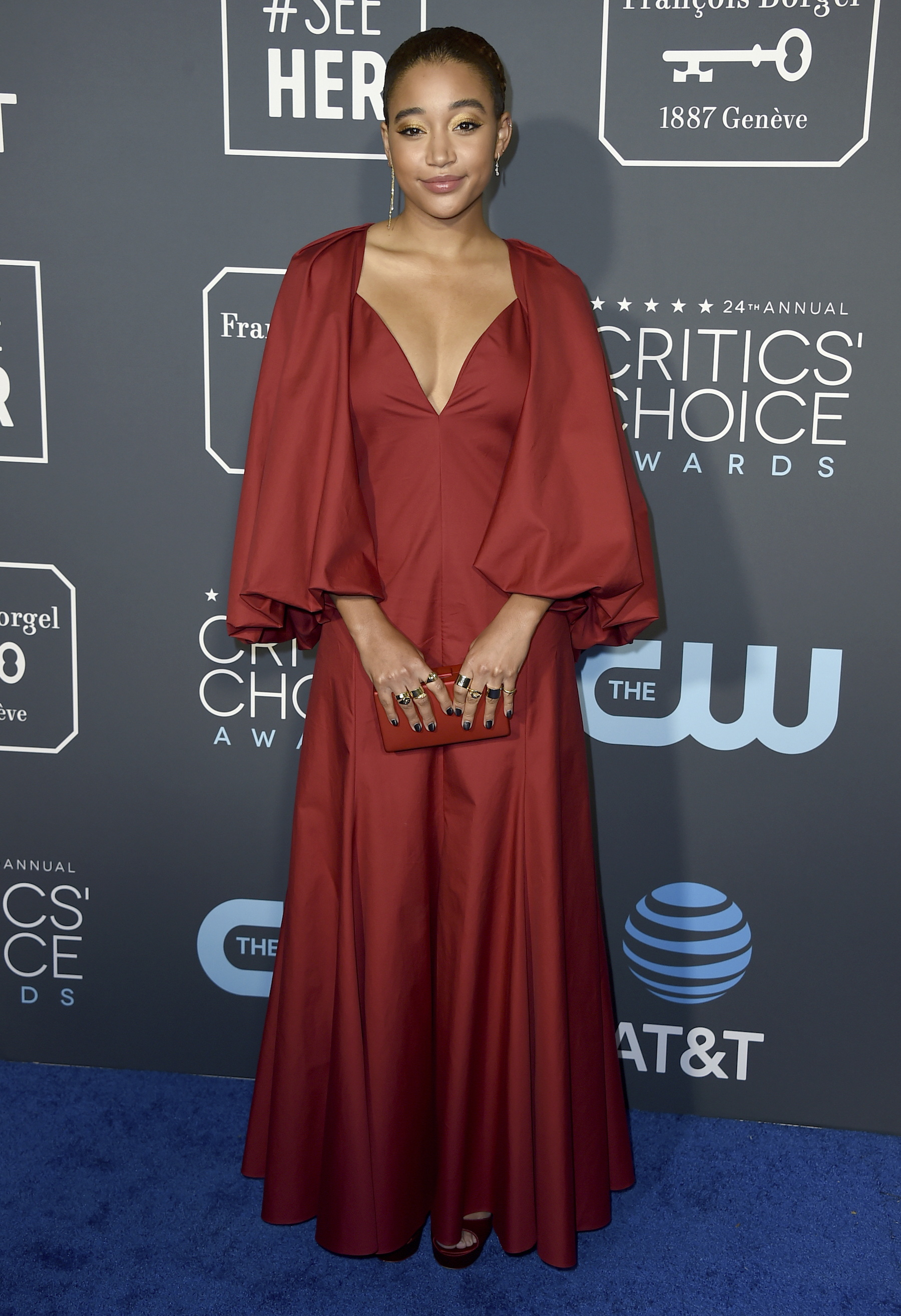 <div class='meta'><div class='origin-logo' data-origin='AP'></div><span class='caption-text' data-credit='Jordan Strauss/Invision/AP'>Amandla Stenberg arrives at the 24th annual Critics' Choice Awards on Sunday, Jan. 13, 2019, at the Barker Hangar in Santa Monica, Calif.</span></div>
