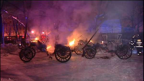 "<div class=""meta image-caption""><div class=""origin-logo origin-image none""><span>none</span></div><span class=""caption-text"">Twelve carriages were destroyed in a stable fire in Chicago's Old Town neighborhood overnight. (WLS Photo)</span></div>"