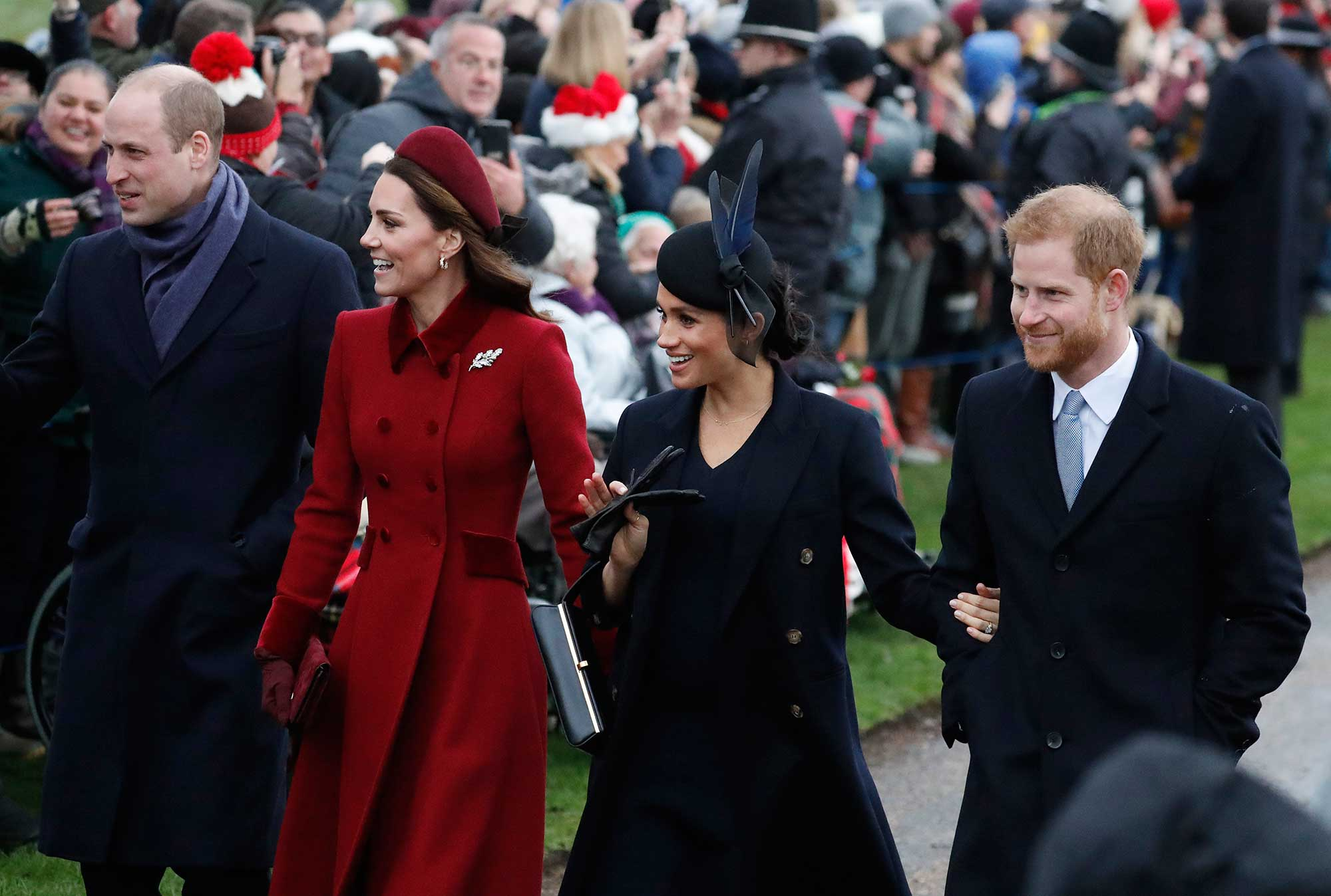 "<div class=""meta image-caption""><div class=""origin-logo origin-image none""><span>none</span></div><span class=""caption-text"">Prince William, Kate, Duchess of Cambridge, s Meghan Duchess of Sussex and Prince Harry, arrive at the Christmas day service at St Mary Magdalene Church on Dec. 25, 2018. (Frank Augstein/AP Photo)</span></div>"