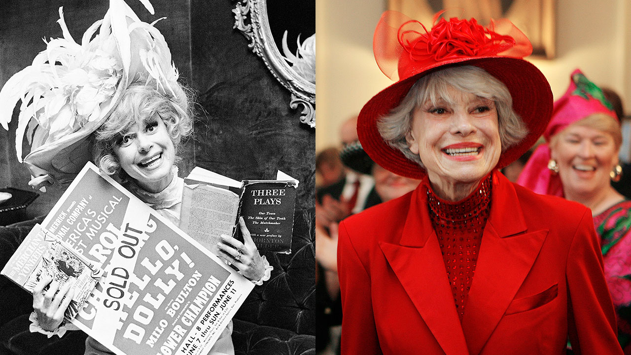 <div class='meta'><div class='origin-logo' data-origin='none'></div><span class='caption-text' data-credit='Ed Kolenovsky/AP Photo|Jim Cole/AP Photo'>Carol Channing is shown in 1967 (left) and 2007 (right). The Broadway legend passed away on Jan. 15, 2019 at age 97, her publicist said.</span></div>