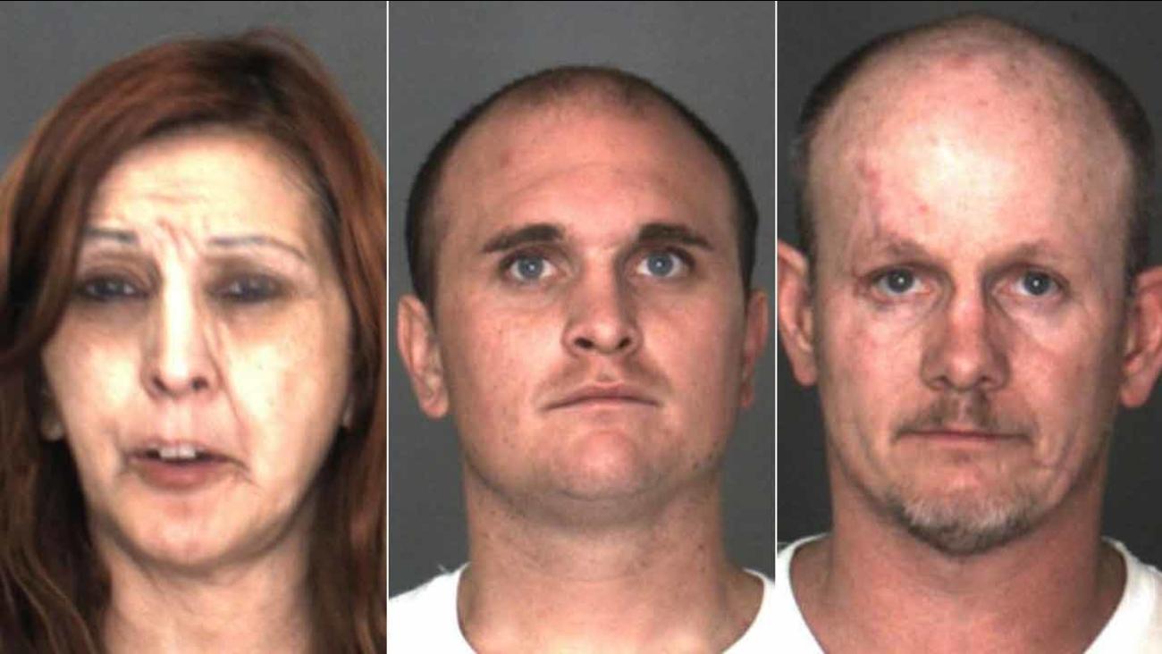 Esperanza Maldonado, 52, Cameron Dollar, 27, Eddie Lee Chapman, 41, are shown in booking photos from the San Bernardino County Sheriff's Department.