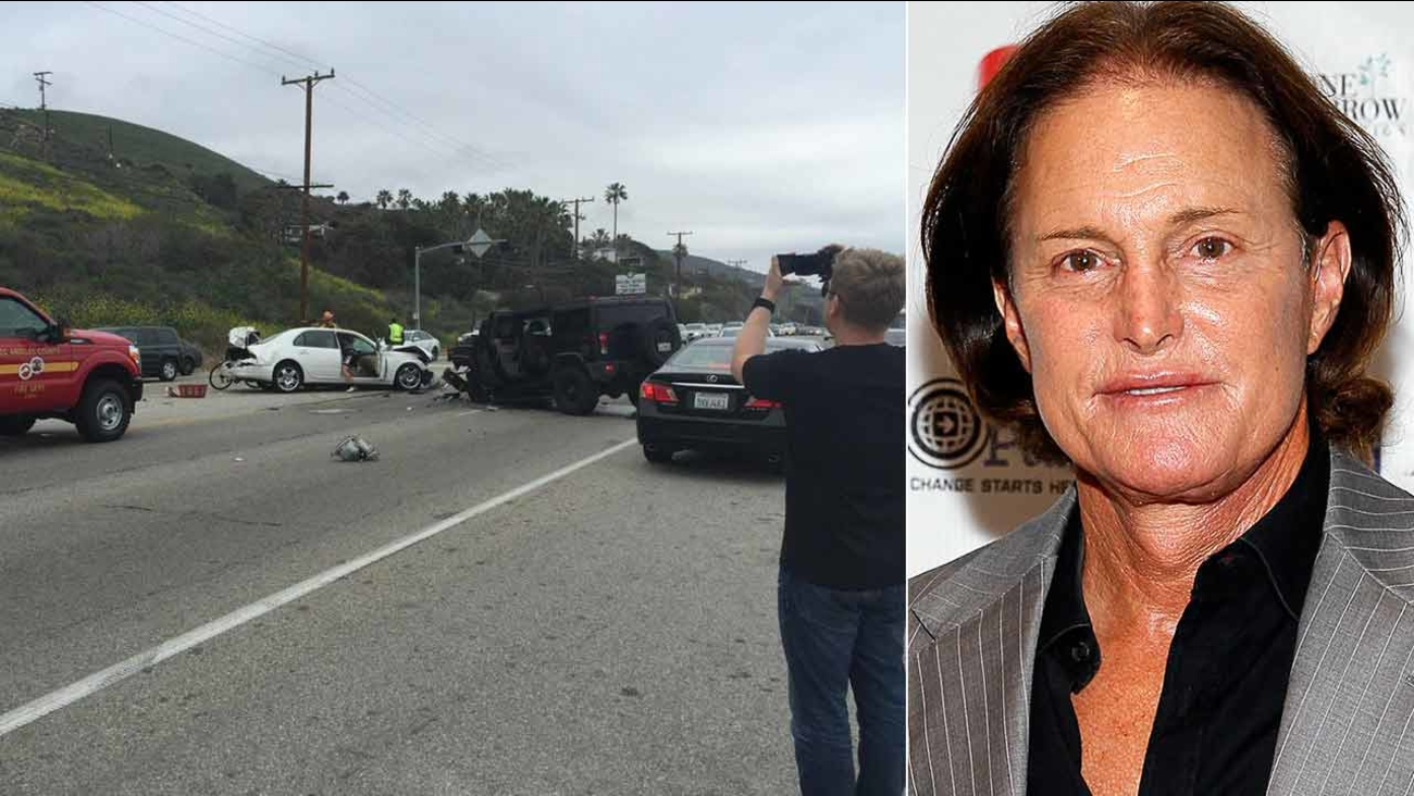 (Left) This photo from Twitter user AlohaKendama shows the scene of a fatal car crash in Malibu on Saturday, Feb. 7, 2015. (Right) File image of Bruce Jenner in New York.