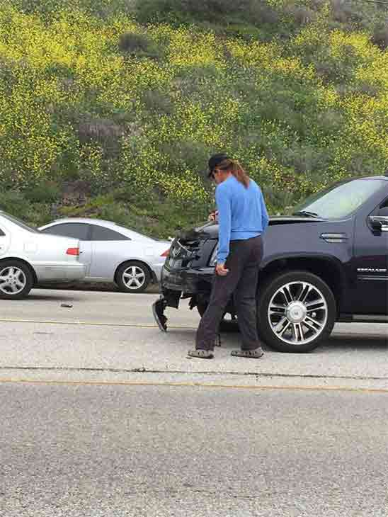 This photo from Twitter user unclenandough shows the scene of a fatal car crash in Malibu on Saturday, Feb. 7, 2015.