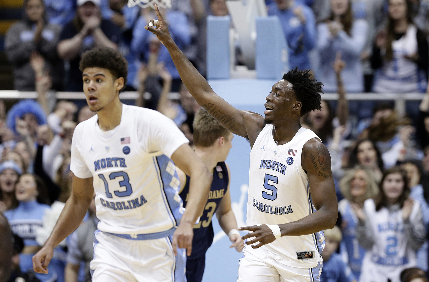 "<div class=""meta image-caption""><div class=""origin-logo origin-image ap""><span>AP</span></div><span class=""caption-text"">North Carolina's Nassir Little (5) celebrates a basket while running up the court. (Gerry Broome)</span></div>"