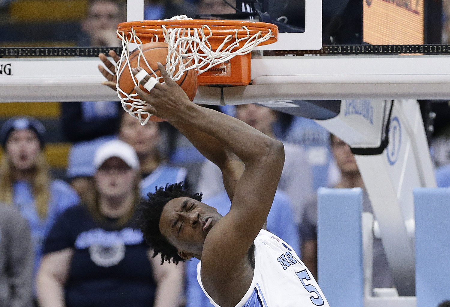 "<div class=""meta image-caption""><div class=""origin-logo origin-image ap""><span>AP</span></div><span class=""caption-text"">North Carolina's Nassir Little dunks during the second half of the team's NCAA college basketball game against Notre Dame in Chapel Hill. (Gerry Broome)</span></div>"