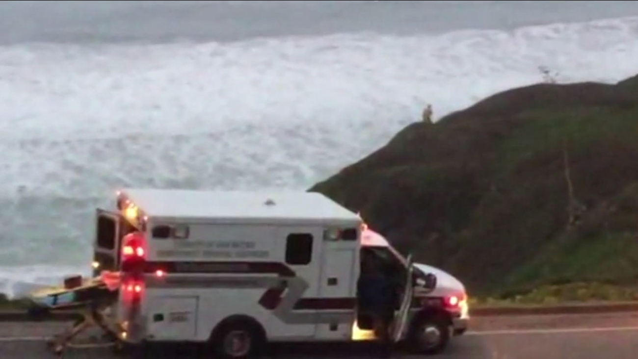 A woman is hospitalized after falling off a cliff in Pacifica near Palmetto Avenue.