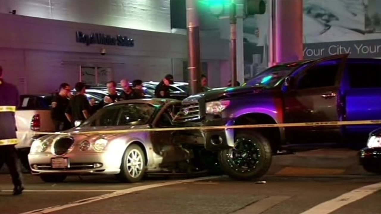 Three people were seriously hurt after a collision involving two vehicles and pedestrians in San Francisco, Calif. on  Feb. 7, 2015.