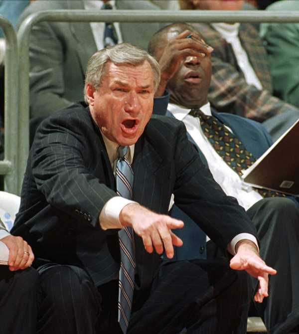 "<div class=""meta image-caption""><div class=""origin-logo origin-image none""><span>none</span></div><span class=""caption-text"">In a Jan. 22, 1997 file photo, North Carolina head coach Dean Smith yells at his players during ACC basketball action against Florida State in Tallahassee, Fla. (AP Photo/Phil Coale, File)</span></div>"