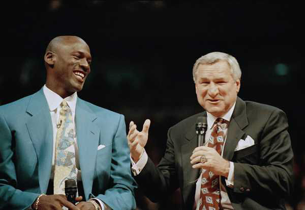"<div class=""meta image-caption""><div class=""origin-logo origin-image none""><span>none</span></div><span class=""caption-text"">Nov. 1, 1994, former Chicago Bulls great Michael Jordan shares a moment with Dean Smith, his former coach at UNC, during ceremonies honoring Jordan at Chicago's United Center. (AP Photo/Pool, File)</span></div>"