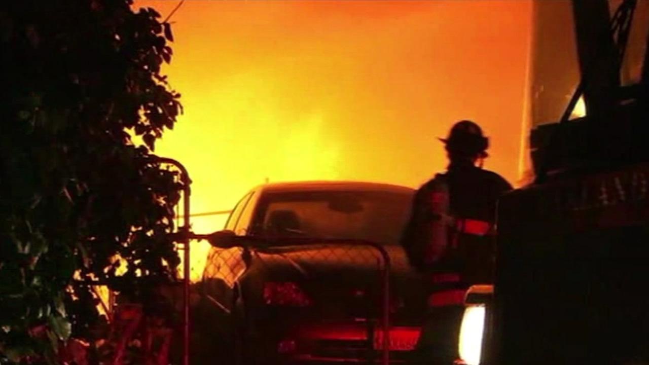 Two-alarm fire at a triplex near Oakland's San Antonio Park
