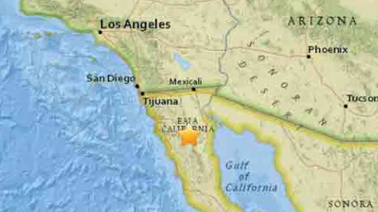 A map shows the area where a 4.9-magnitude earthquake struck 59 miles northwest of San Felipe in Baja California, Mexico Sunday, Feb. 8, 2015.