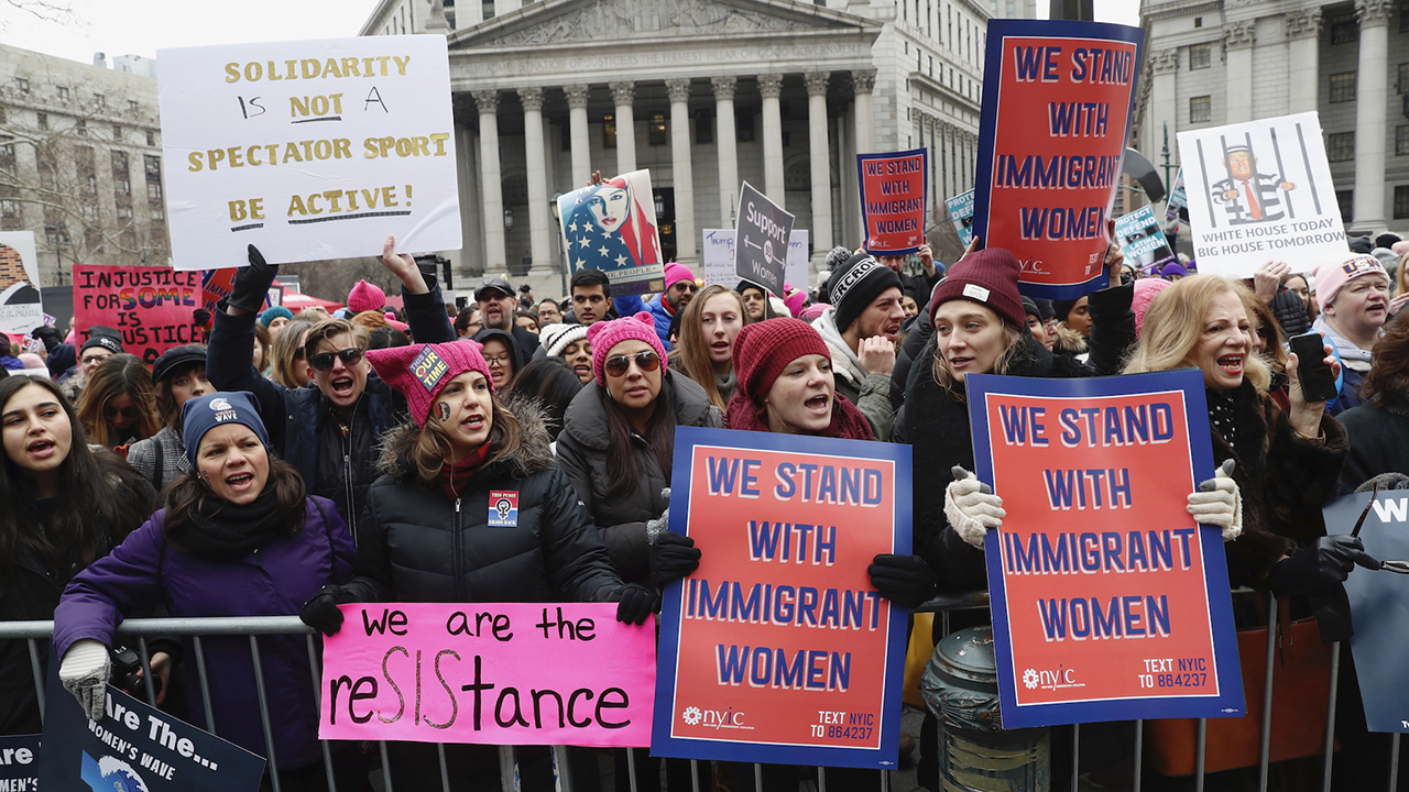 "<div class=""meta image-caption""><div class=""origin-logo origin-image ap""><span>AP</span></div><span class=""caption-text"">Participants take part in a women's rally in lower Manhattan on Saturday, Jan. 19, 2019 in New York. (AP Photo/Kathy Willens)</span></div>"