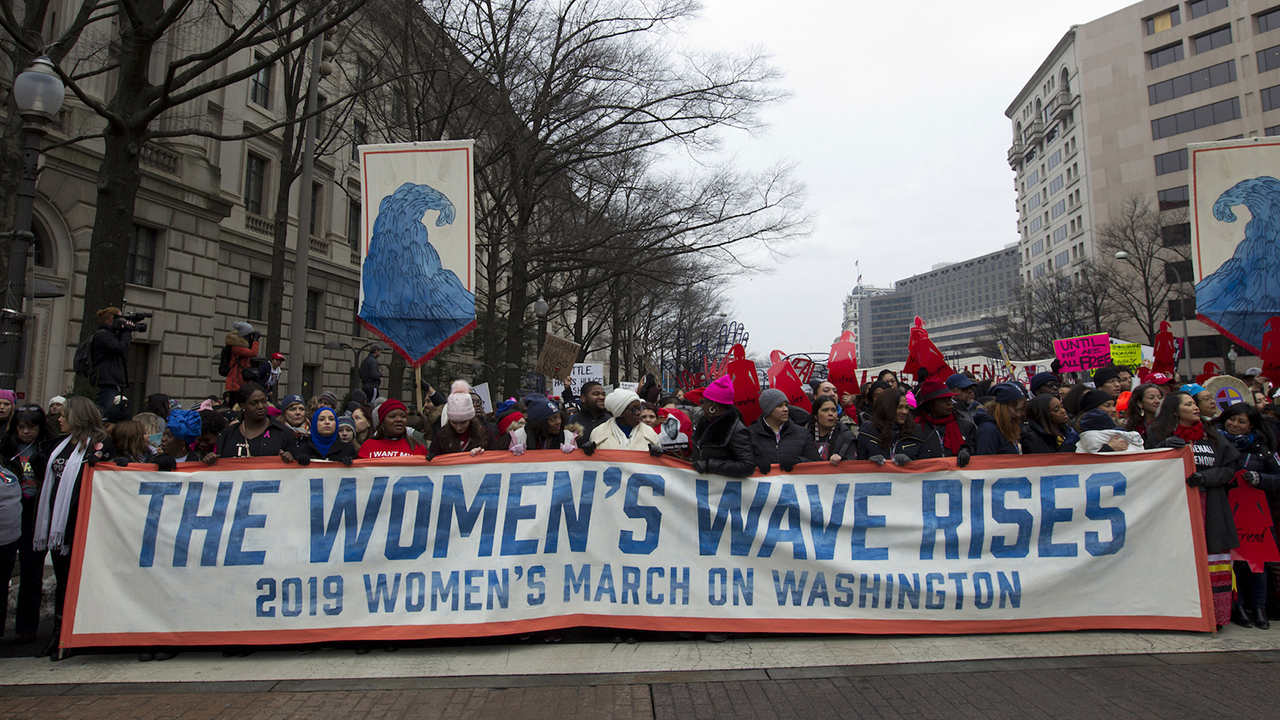 "<div class=""meta image-caption""><div class=""origin-logo origin-image ap""><span>AP</span></div><span class=""caption-text"">Demonstrators march on Pennsylvania Ave. during the Women's March in Washington on Saturday, Jan. 19, 2019. (AP Photo/Jose Luis Magana)</span></div>"