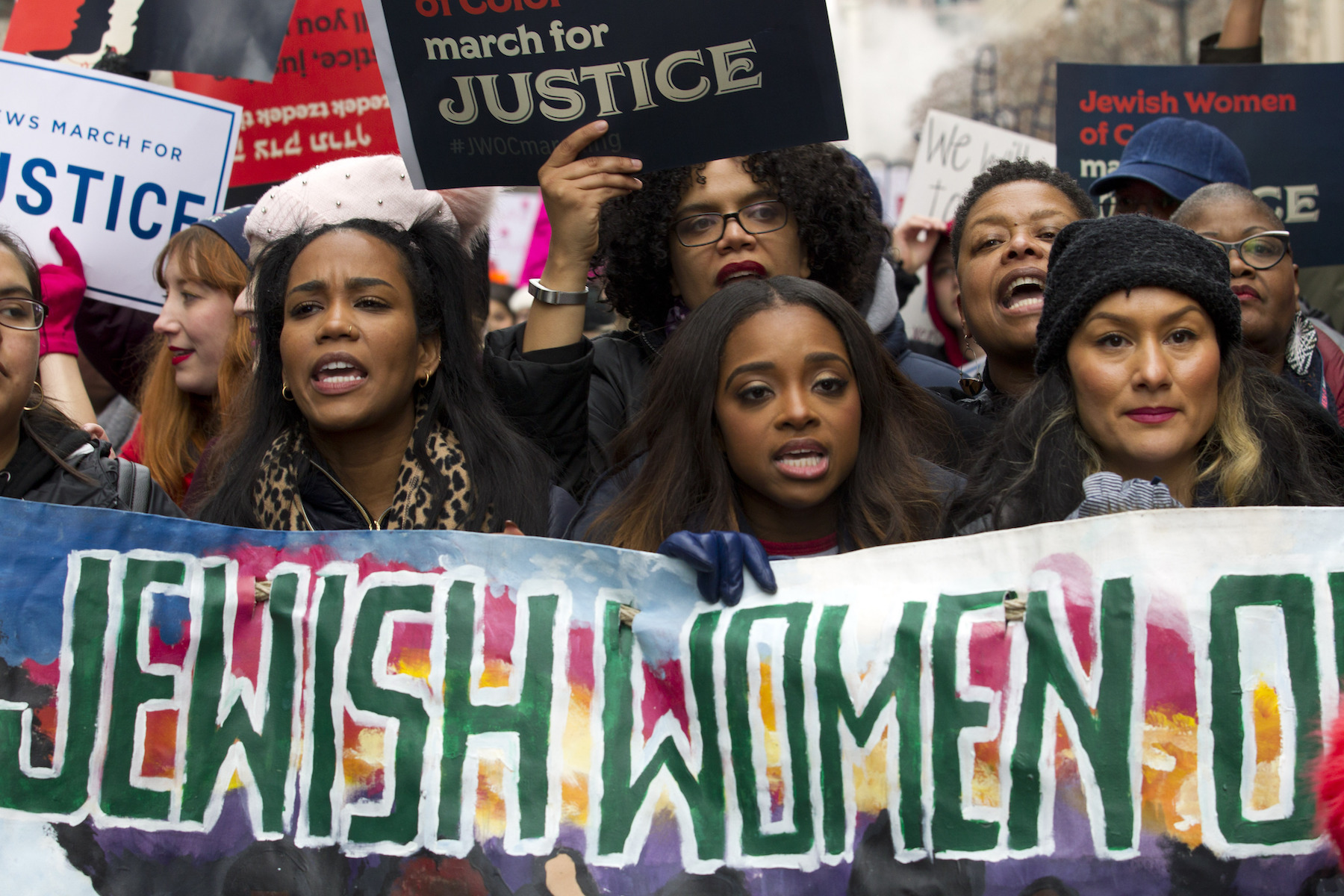 "<div class=""meta image-caption""><div class=""origin-logo origin-image ap""><span>AP</span></div><span class=""caption-text"">Co-president of the 2019 Women's March Tamika Mallory, center, joins other demonstrators on Pennsylvania Avenue during the Women's March in Washington on Saturday, Jan. 19, 2019. (AP Photo/Jose Luis Magana))</span></div>"