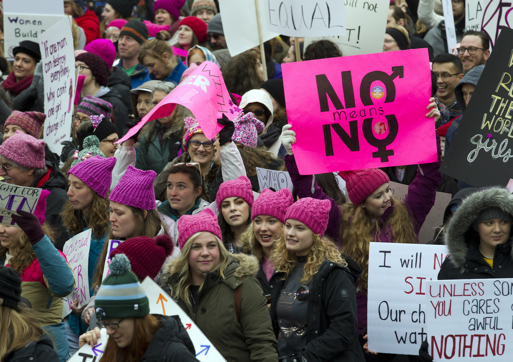 "<div class=""meta image-caption""><div class=""origin-logo origin-image ap""><span>AP</span></div><span class=""caption-text"">Demonstrators hold banners as they march on Pennsylvania Avenue during the Women's March in Washington on Saturday, Jan. 19, 2019. (AP Photo/Jose Luis Magana))</span></div>"