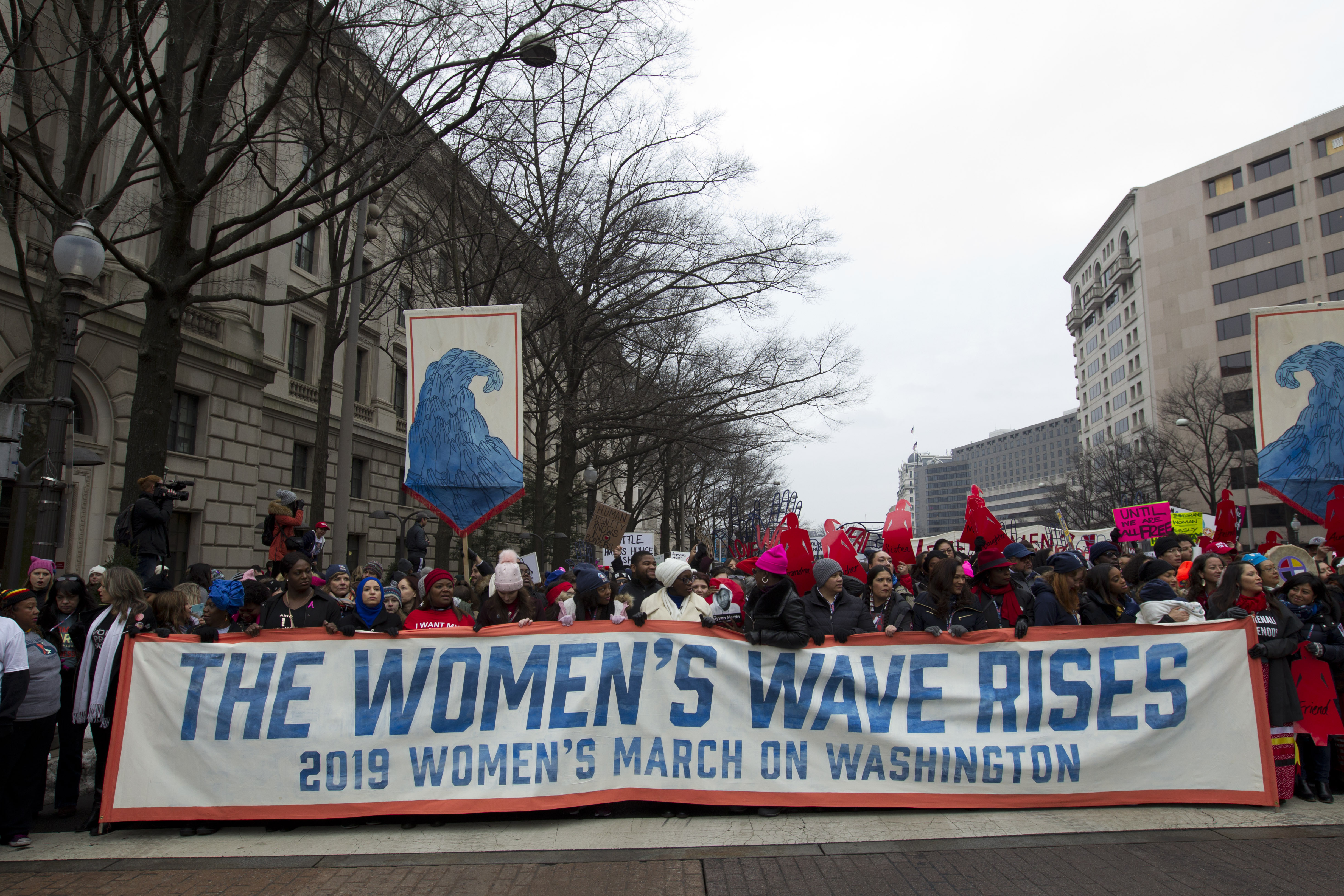 <div class='meta'><div class='origin-logo' data-origin='AP'></div><span class='caption-text' data-credit='AP Photo/Jose Luis Magana'>Demonstrators march on Pennsylvania Av. during the women's march in Washington on Saturday, Jan. 19, 2019.</span></div>