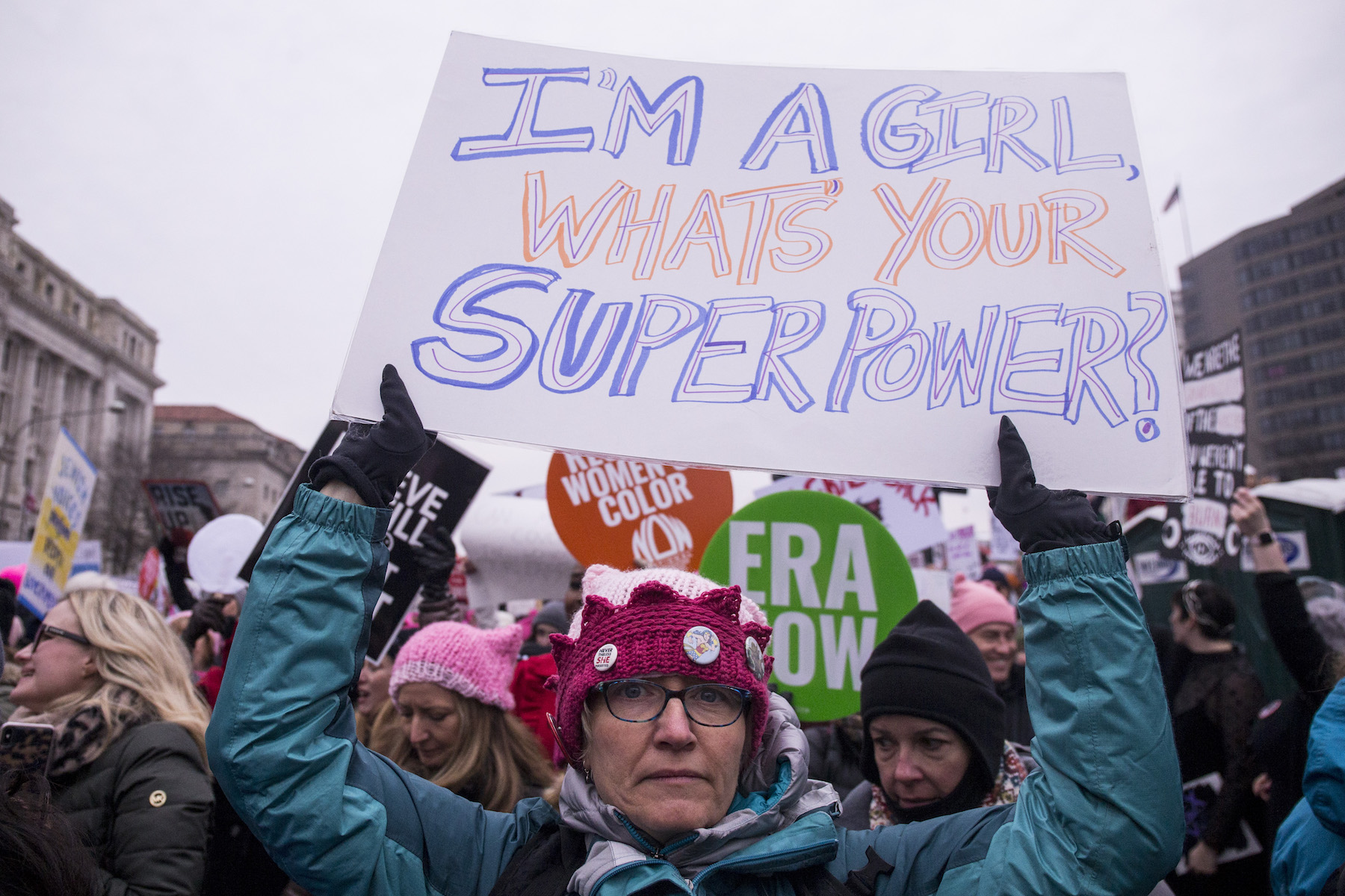 <div class='meta'><div class='origin-logo' data-origin='Creative Content'></div><span class='caption-text' data-credit='Zach Gibson/Getty Images'>A demonstrator holds a sign during the 2019 Women's March on January 19, 2019, in Washington, DC.</span></div>