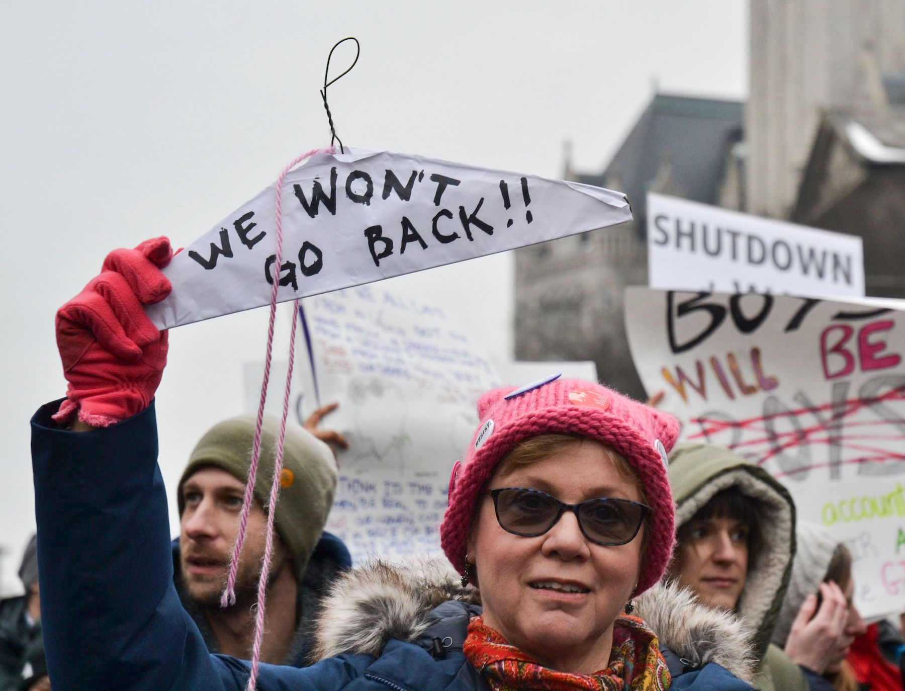 <div class='meta'><div class='origin-logo' data-origin='Creative Content'></div><span class='caption-text' data-credit='Alex Robinson/AFP/Getty Images'>Protesters display their signs in front of the Trump Tower during the Women's March in Washington, DC January 19, 2019.</span></div>