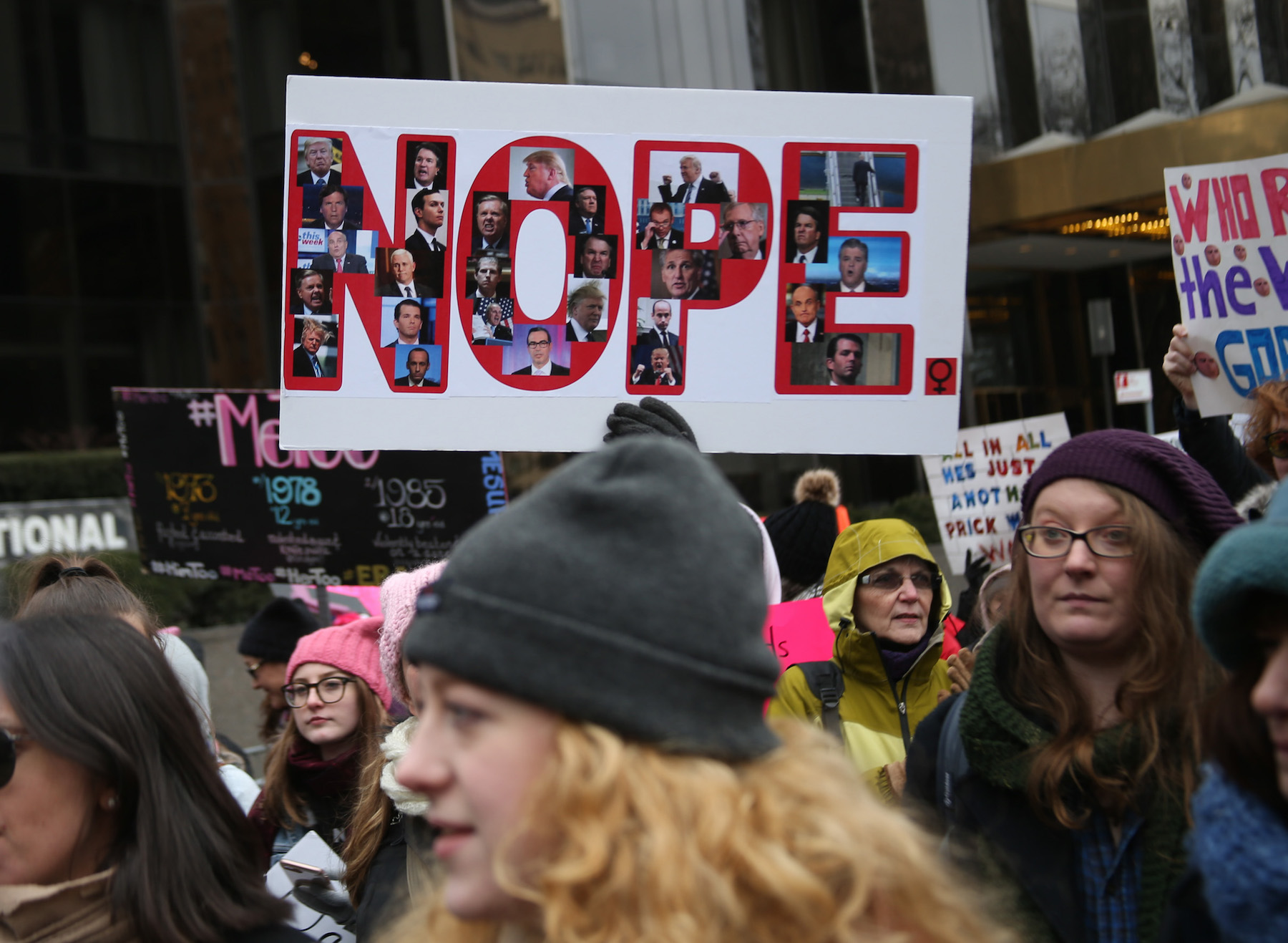 <div class='meta'><div class='origin-logo' data-origin='Creative Content'></div><span class='caption-text' data-credit='Rob Kim/Getty Images'>Protestors hold signs at Women's March 2019 on January 19, 2019, in New York City.</span></div>