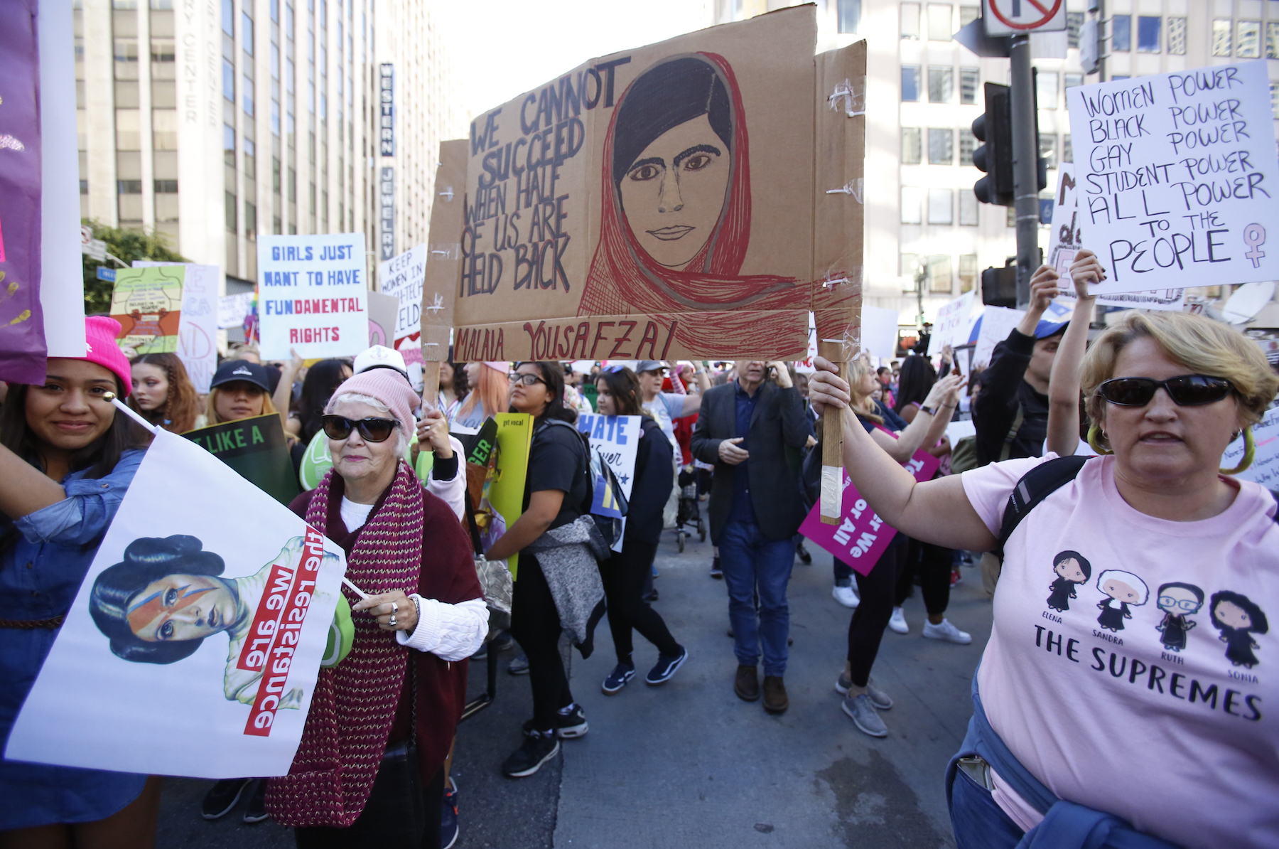 "<div class=""meta image-caption""><div class=""origin-logo origin-image ap""><span>AP</span></div><span class=""caption-text"">Demonstrators hold signs during the Women's March in Los Angeles on Saturday, Jan. 19, 2019. (AP Photo/Damian Dovarganes)</span></div>"