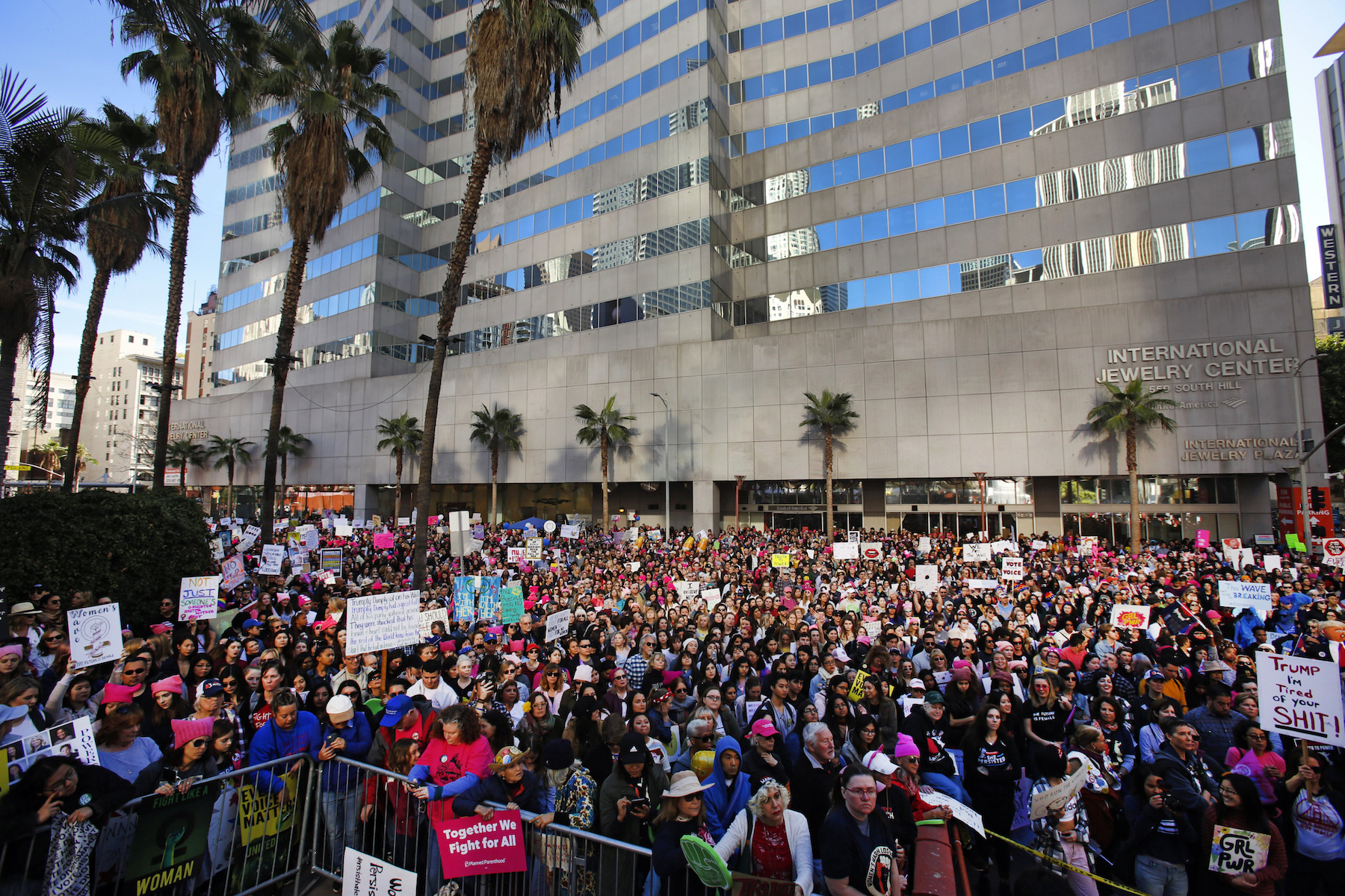 "<div class=""meta image-caption""><div class=""origin-logo origin-image ap""><span>AP</span></div><span class=""caption-text"">Demonstrators gather at Pershing Square during the start of the Women's March in Los Angeles on Saturday, Jan. 19, 2019.= (AP Photo/Damian Dovarganes)</span></div>"