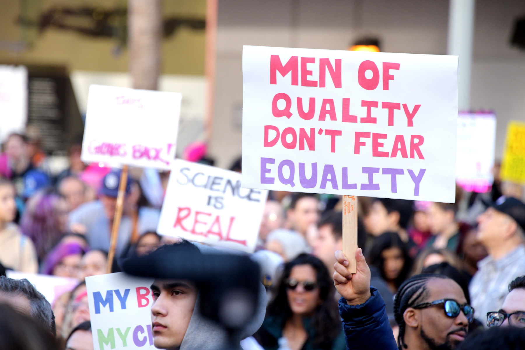 <div class='meta'><div class='origin-logo' data-origin='Creative Content'></div><span class='caption-text' data-credit='Getty Images for Women's March Los Angeles'>Demonstrators attend the 2019 Women's March Los Angeles on January 19, 2019m in Los Angeles, California.</span></div>