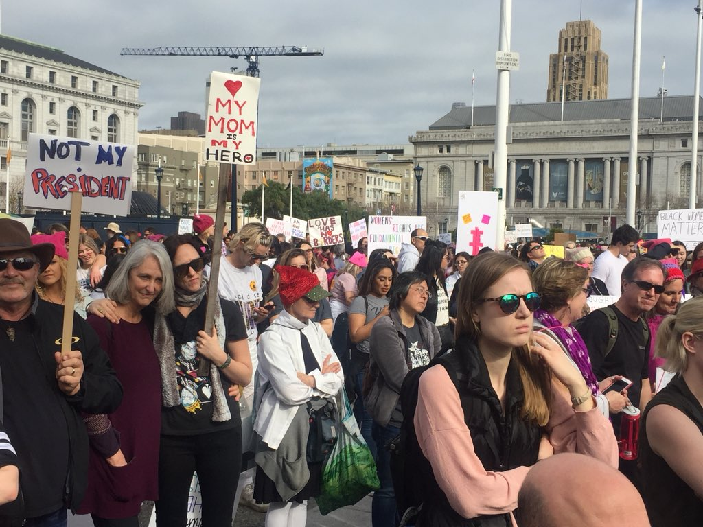 <div class='meta'><div class='origin-logo' data-origin='none'></div><span class='caption-text' data-credit='KGO-TV'>Demonstrators are seen at the Women's March in San Jose, Calif. on Saturday, Jan. 19, 2019.</span></div>