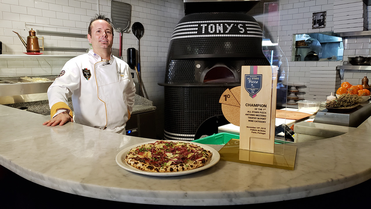 The pizza with a Port reduction makes its debut at Tony's Pizza Napoletana in San Francisco's North Beach area.