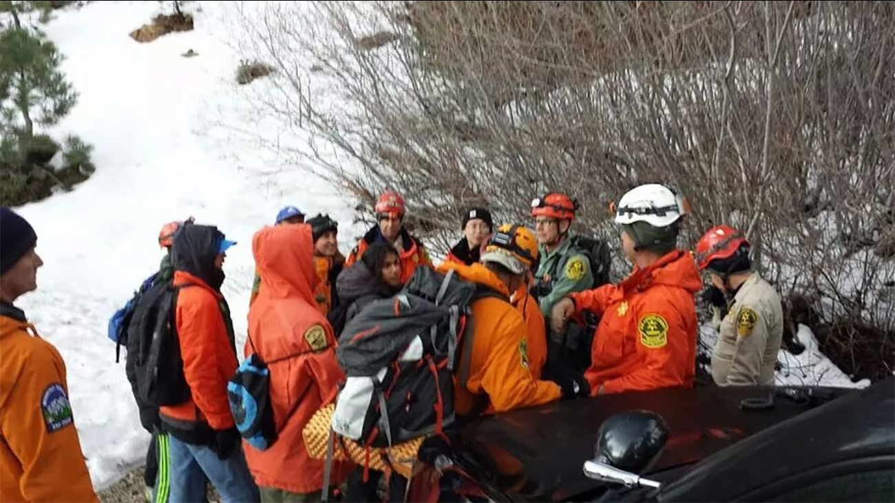 Rescuers helped eight hikers who got lost in the Angeles National Forest on Sunday, Feb. 8, 2015.