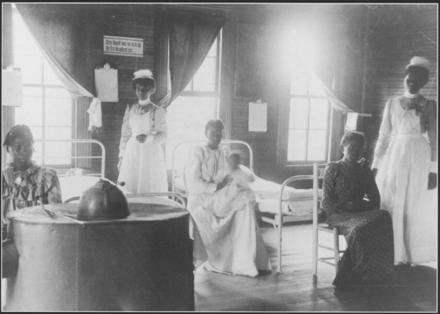 <div class='meta'><div class='origin-logo' data-origin='none'></div><span class='caption-text' data-credit='(Source: News & Observer)'>St. Agnes Hospital Ward, on the campus of St. Augustines college, circa 1910.</span></div>
