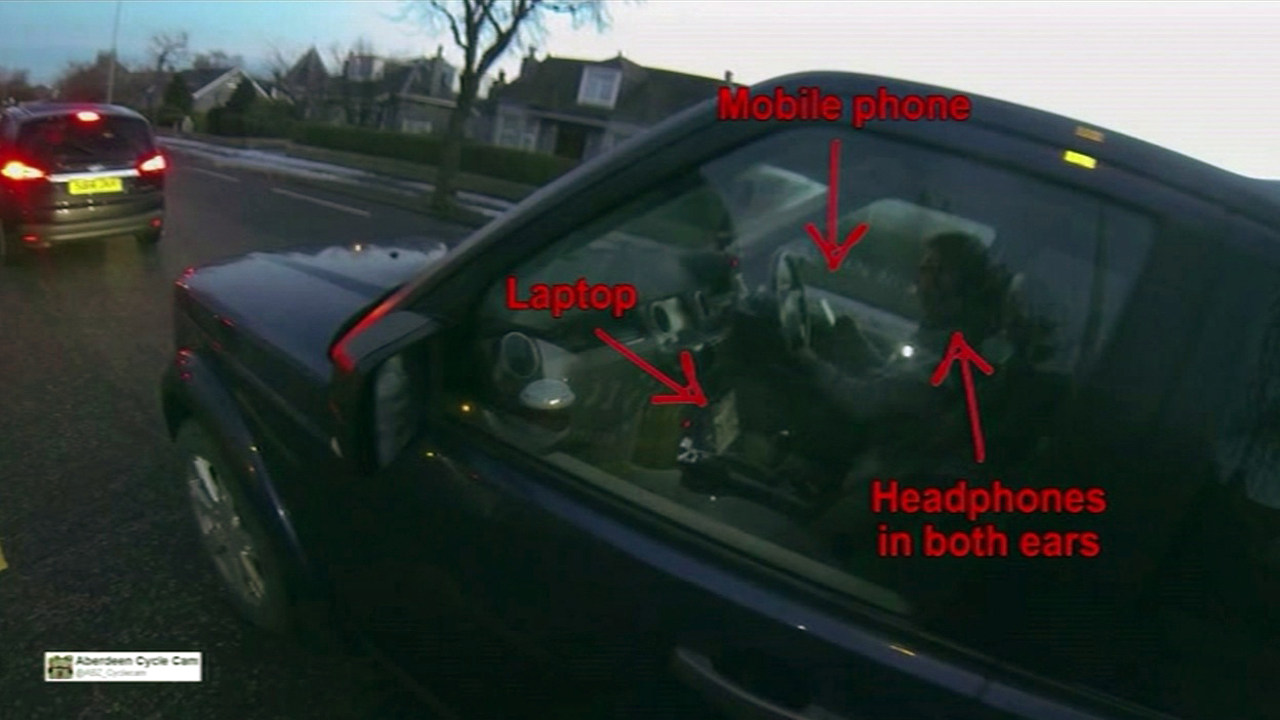 Distracted driver in Scotland.