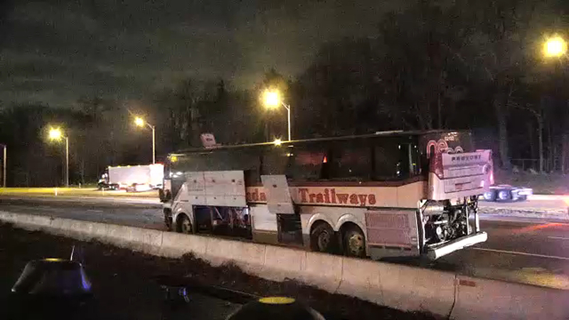 1 dead, 1 critically injured in I-80 bus wreck involving 3