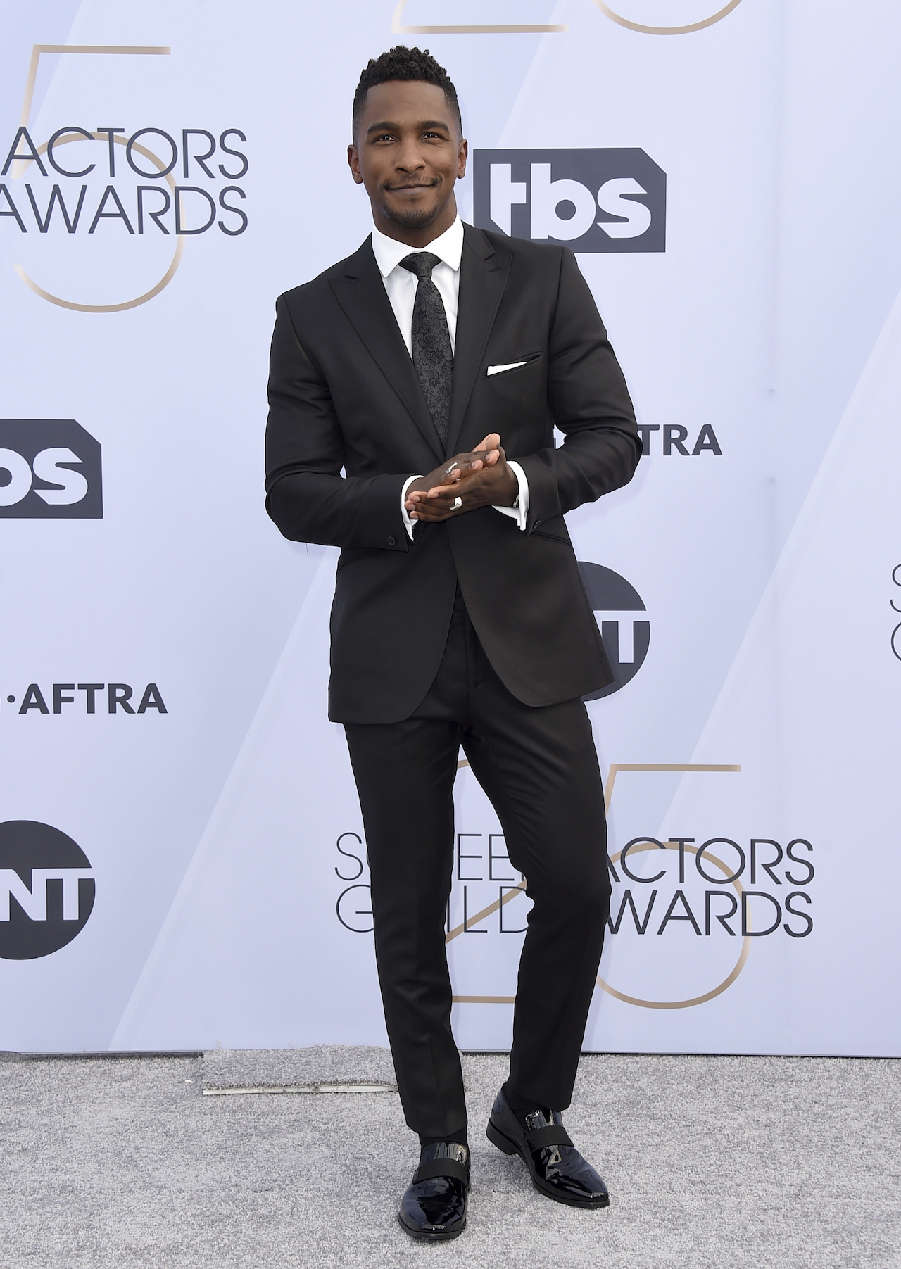 "<div class=""meta image-caption""><div class=""origin-logo origin-image ap""><span>AP</span></div><span class=""caption-text"">Scott Evans arrives at the 25th annual Screen Actors Guild Awards at the Shrine Auditorium & Expo Hall on Sunday, Jan. 27, 2019, in Los Angeles. (Jordan Strauss/Invision/AP)</span></div>"