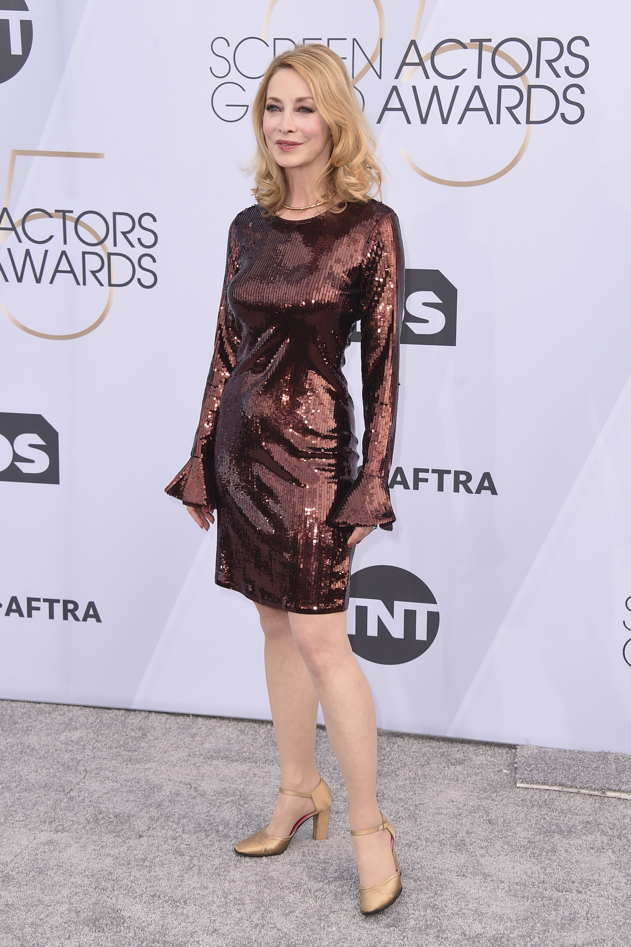 <div class='meta'><div class='origin-logo' data-origin='AP'></div><span class='caption-text' data-credit='Jordan Strauss/Invision/AP'>Sharon Lawrence arrives at the 25th annual Screen Actors Guild Awards at the Shrine Auditorium & Expo Hall on Sunday, Jan. 27, 2019, in Los Angeles.</span></div>