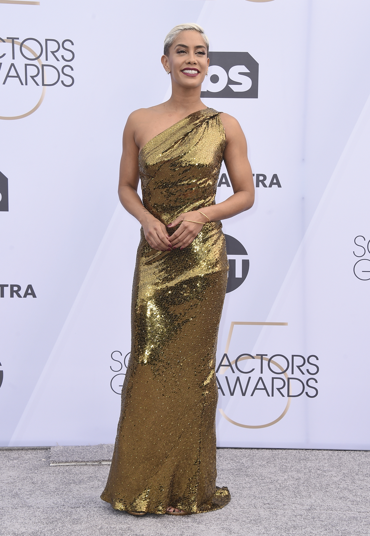 <div class='meta'><div class='origin-logo' data-origin='AP'></div><span class='caption-text' data-credit='Jordan Strauss/Invision/AP'>Sibley Scoles arrives at the 25th annual Screen Actors Guild Awards at the Shrine Auditorium & Expo Hall on Sunday, Jan. 27, 2019, in Los Angeles.</span></div>