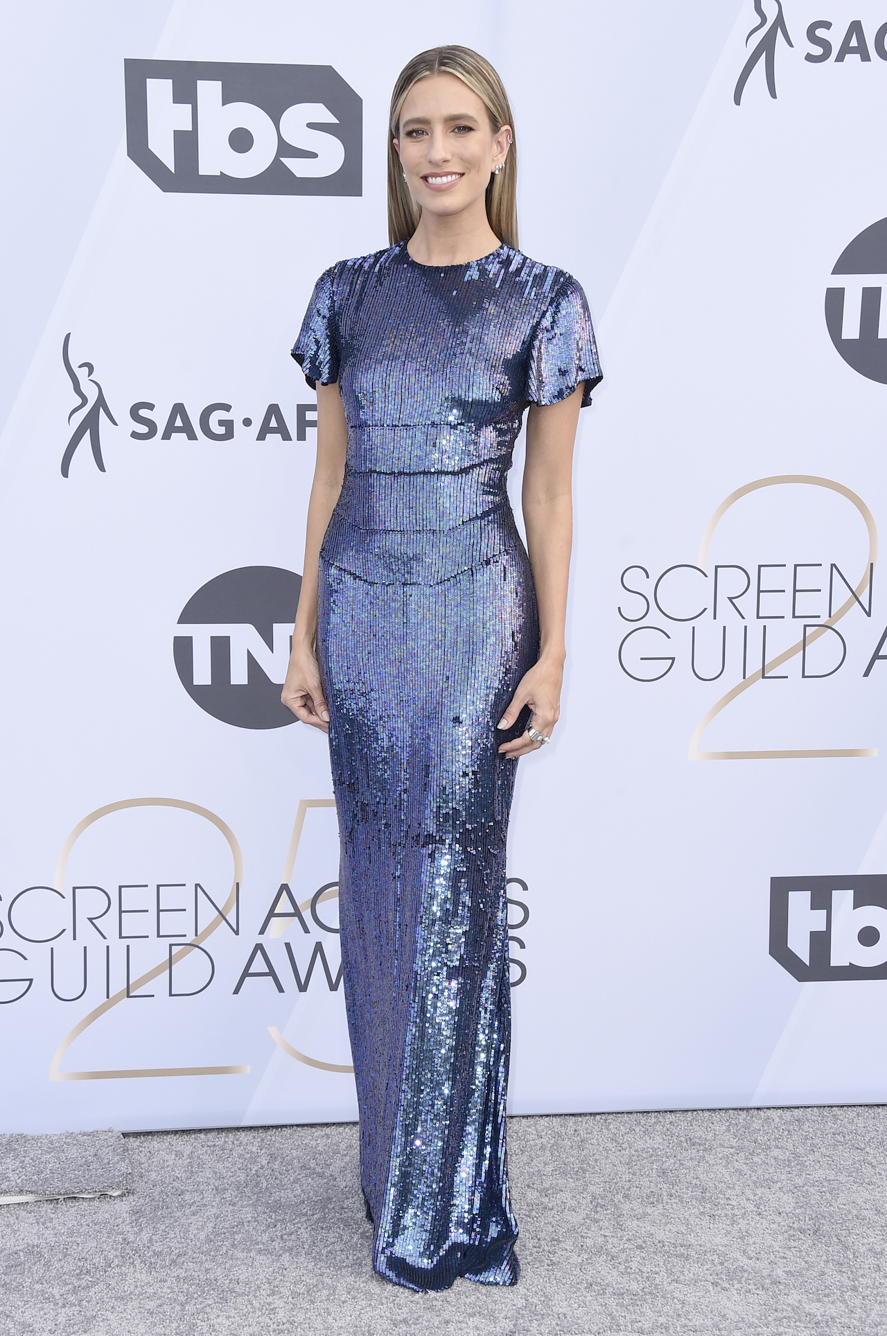 <div class='meta'><div class='origin-logo' data-origin='AP'></div><span class='caption-text' data-credit='Jordan Strauss/Invision/AP'>Renee Bargh arrives at the 25th annual Screen Actors Guild Awards at the Shrine Auditorium & Expo Hall on Sunday, Jan. 27, 2019, in Los Angeles.</span></div>